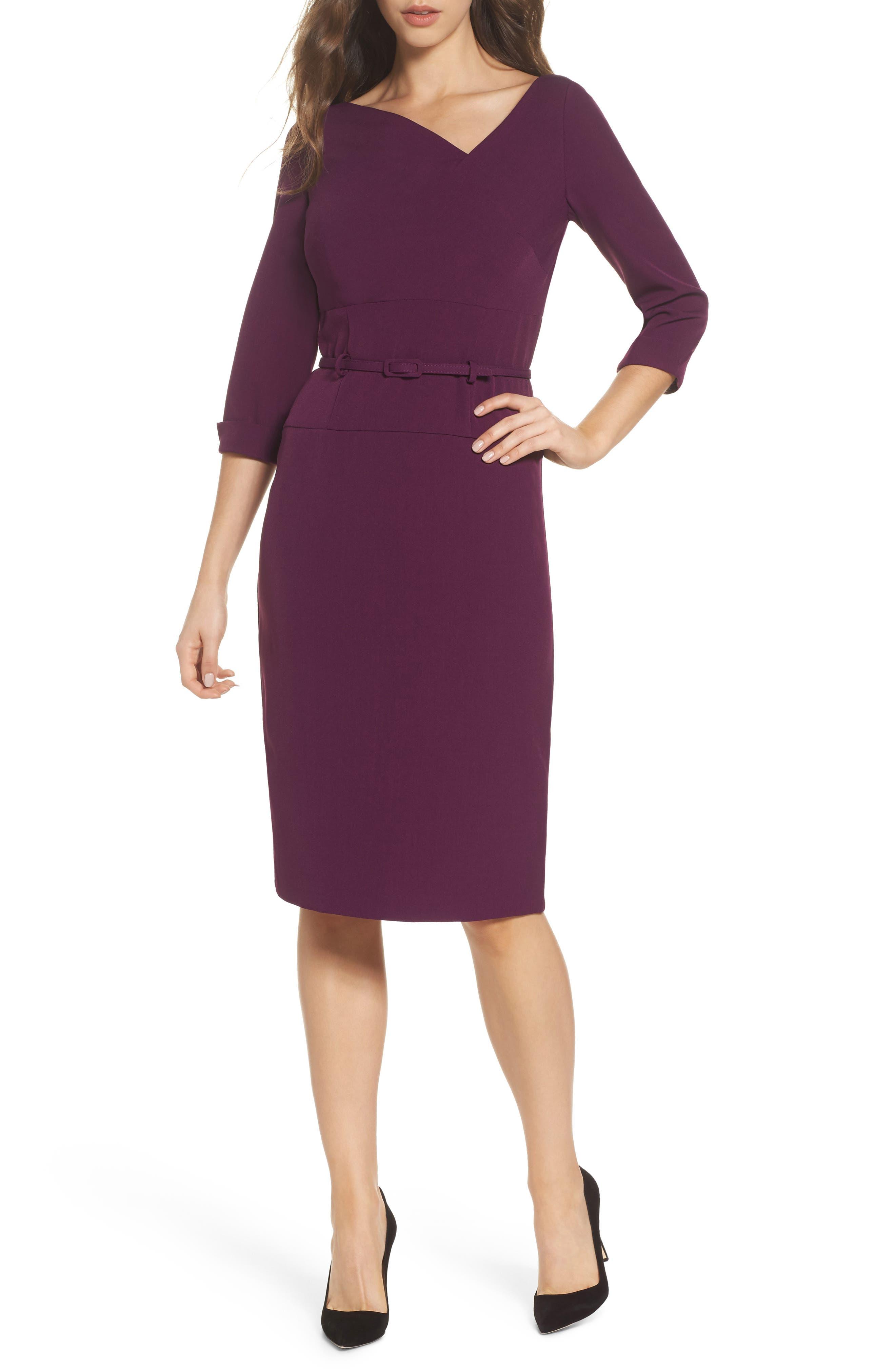 Belted Crepe Sheath Dress,                             Main thumbnail 1, color,                             606