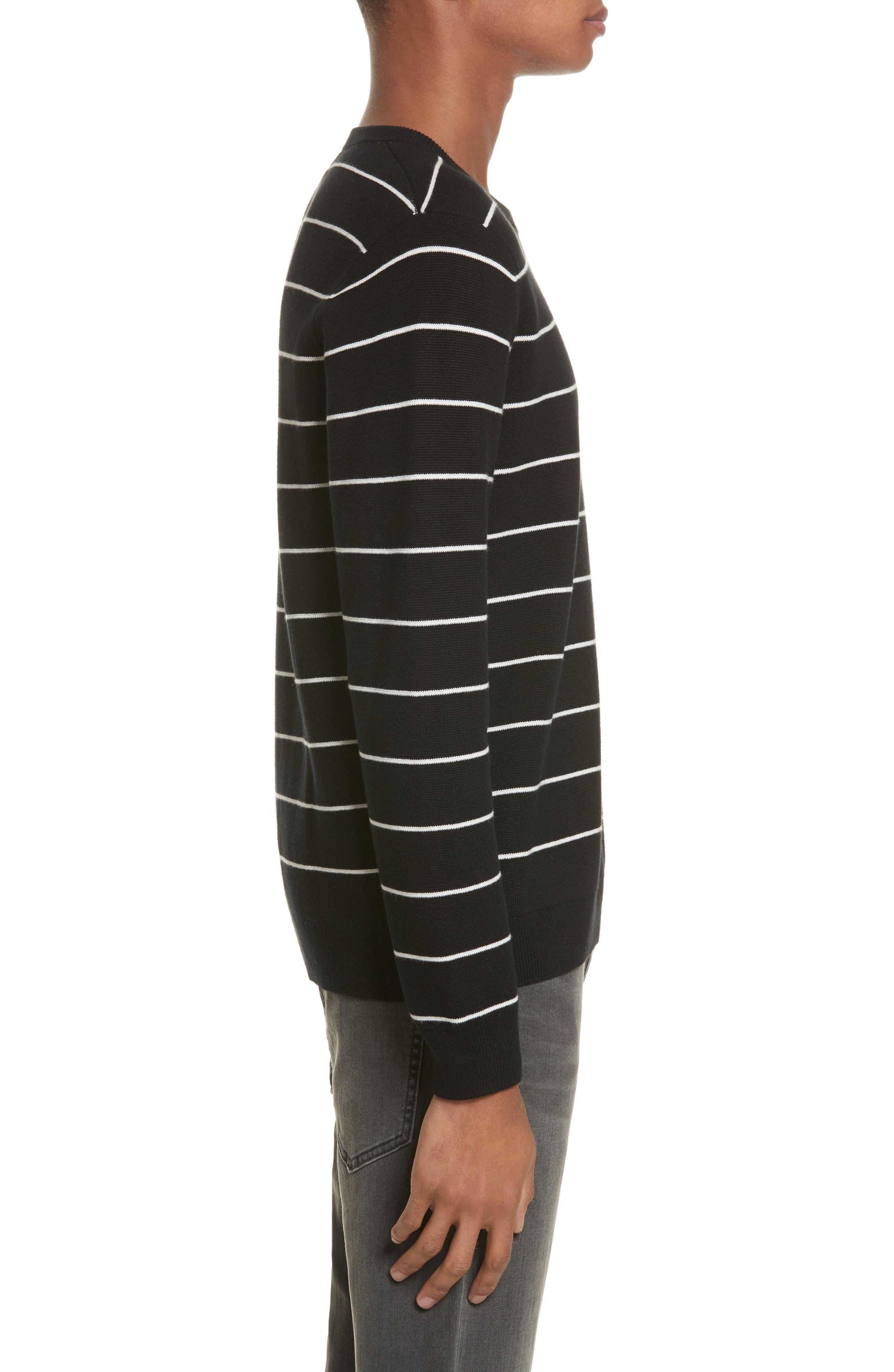 Stripe Cotton Blend Sweater,                             Alternate thumbnail 3, color,
