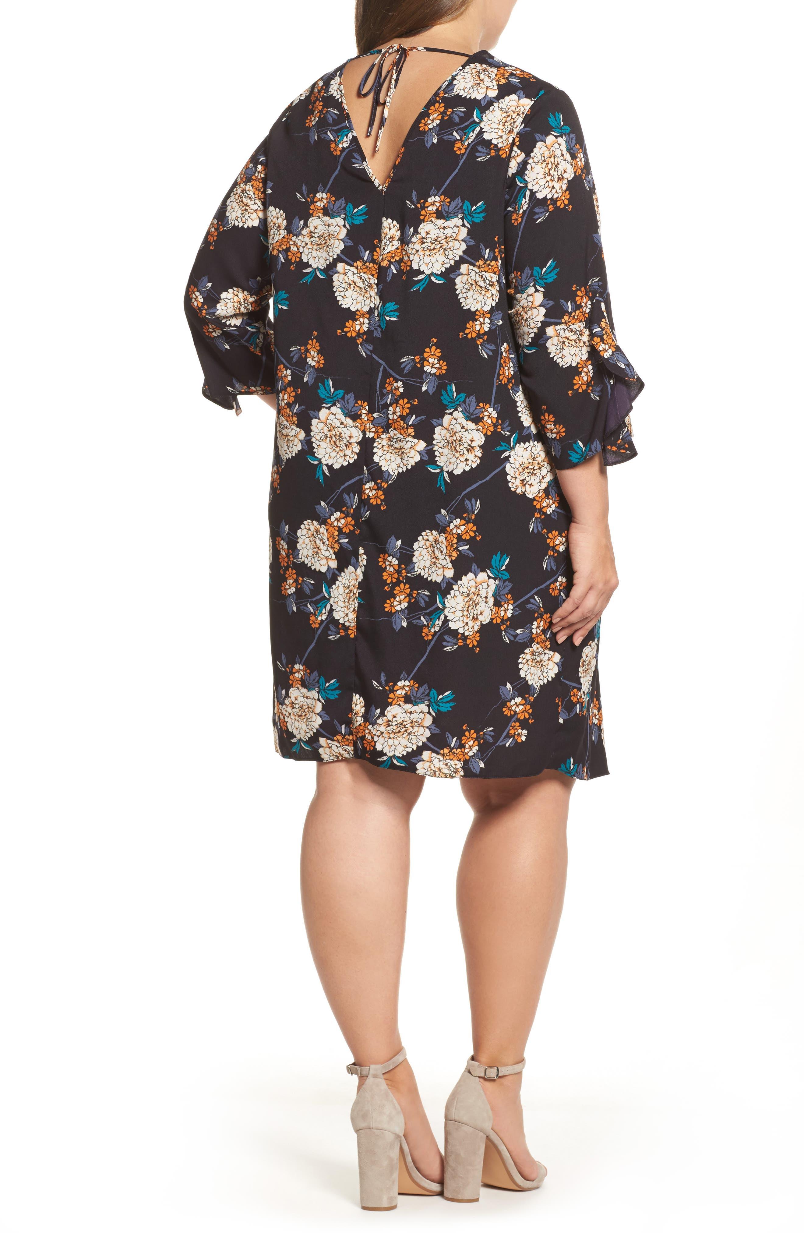 Floral Print Ruffle Sleeve Shift Dress,                             Alternate thumbnail 2, color,                             400