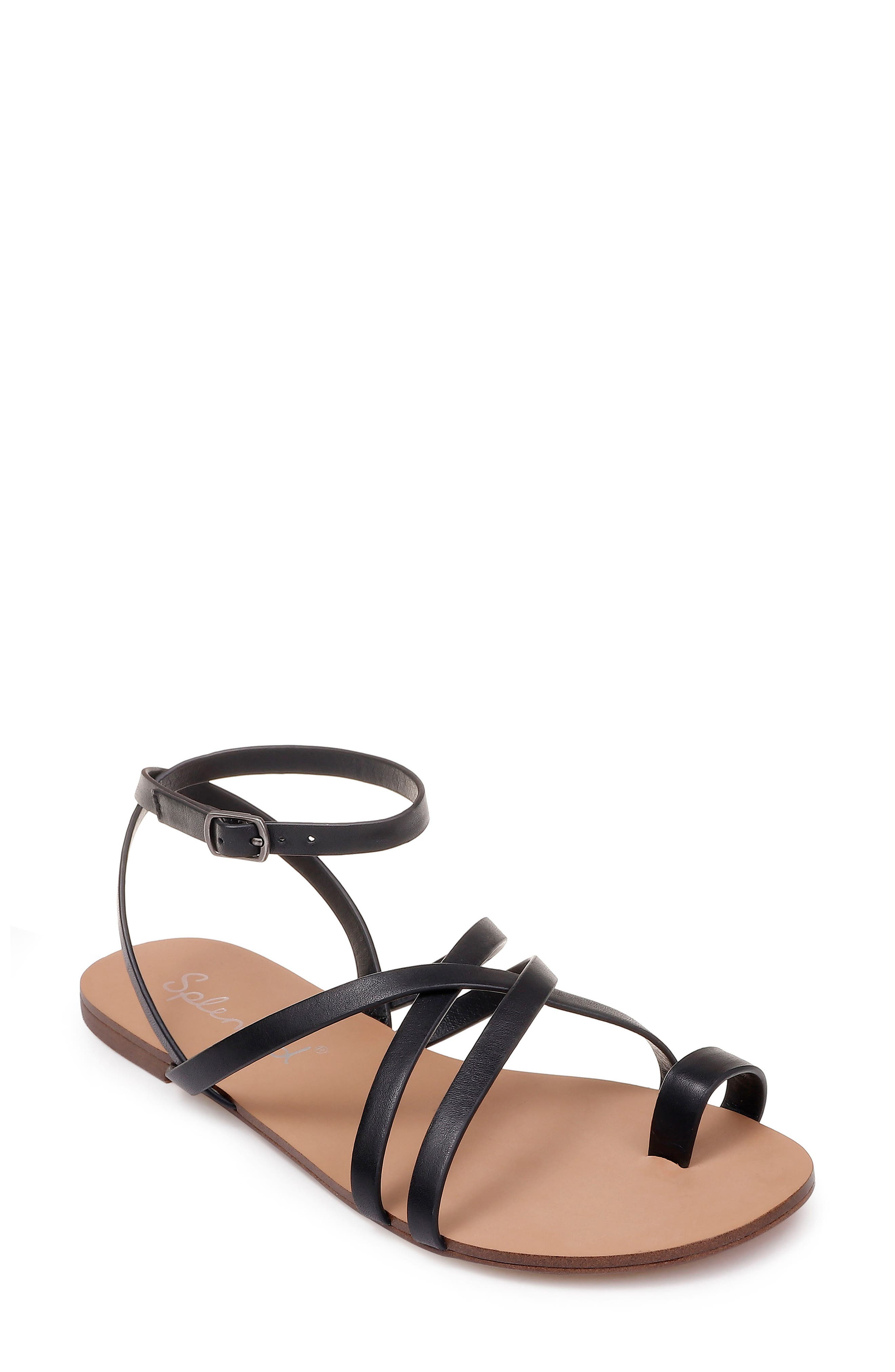 Sully Strappy Toe Loop Sandal,                             Main thumbnail 1, color,                             BLACK LEATHER