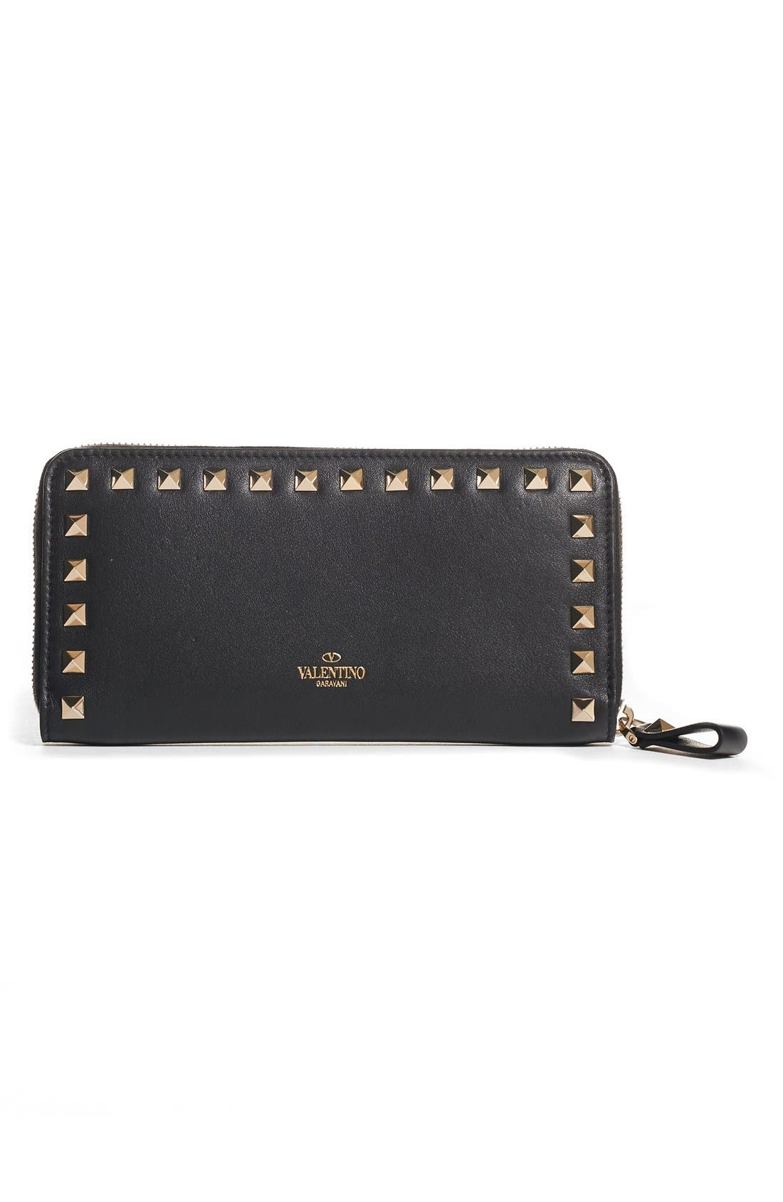 Rockstud Continental Leather Wallet,                         Main,                         color,
