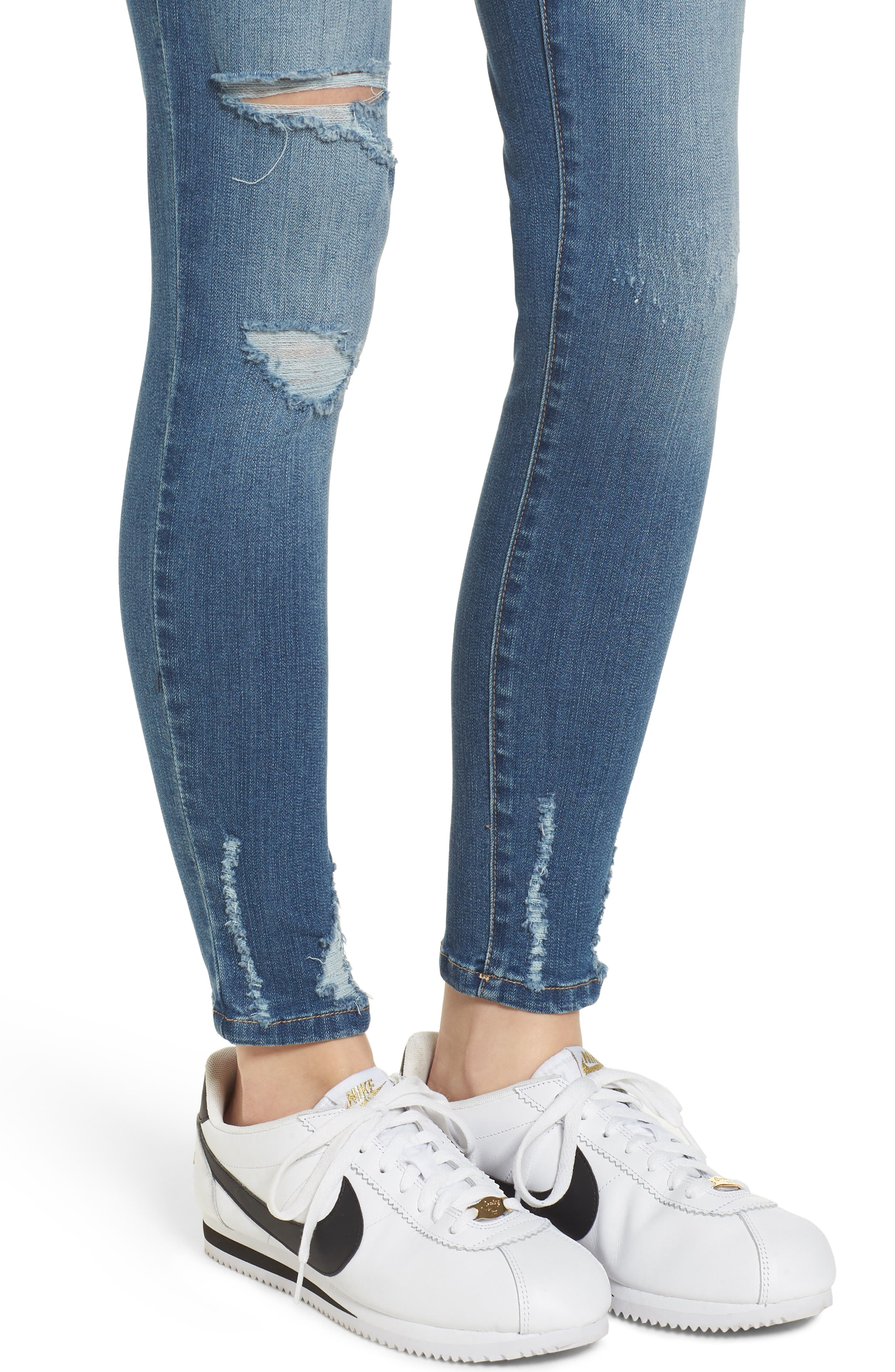 Ripped Skinny Ankle Jeans,                             Alternate thumbnail 4, color,                             423