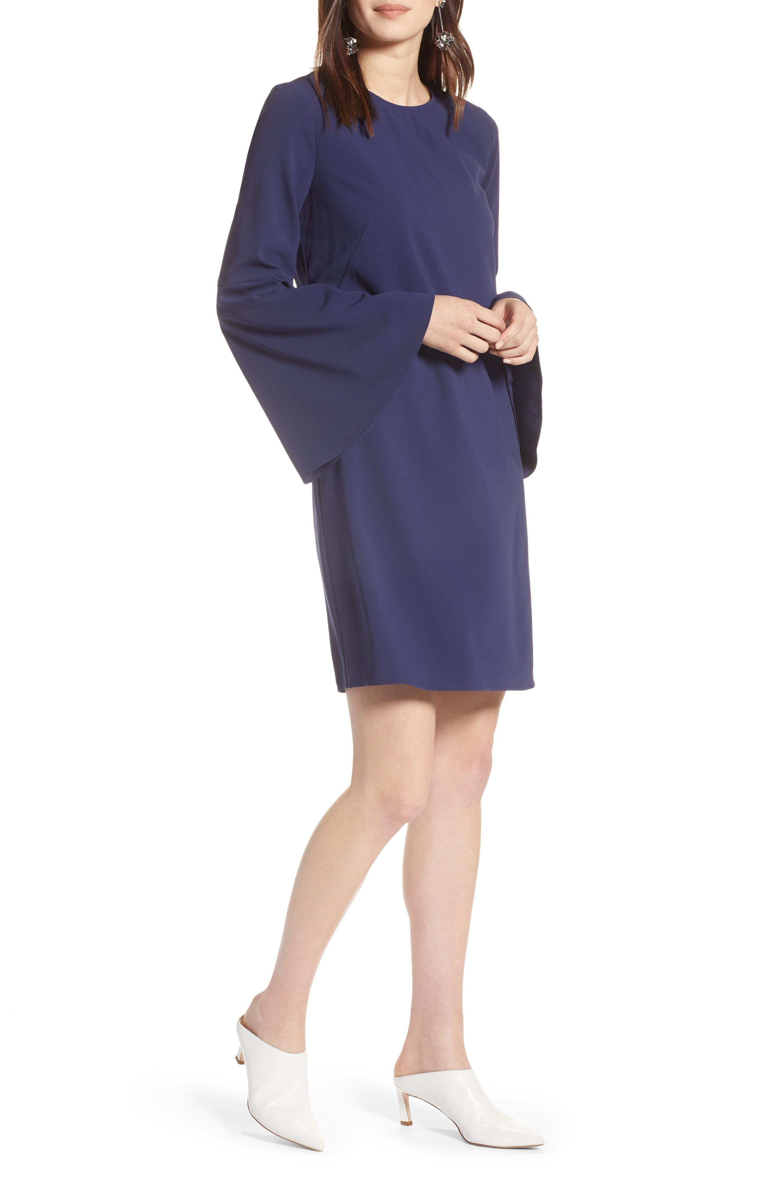 Bow Back Flare Sleeve Dress,                         Main,                         color, 410