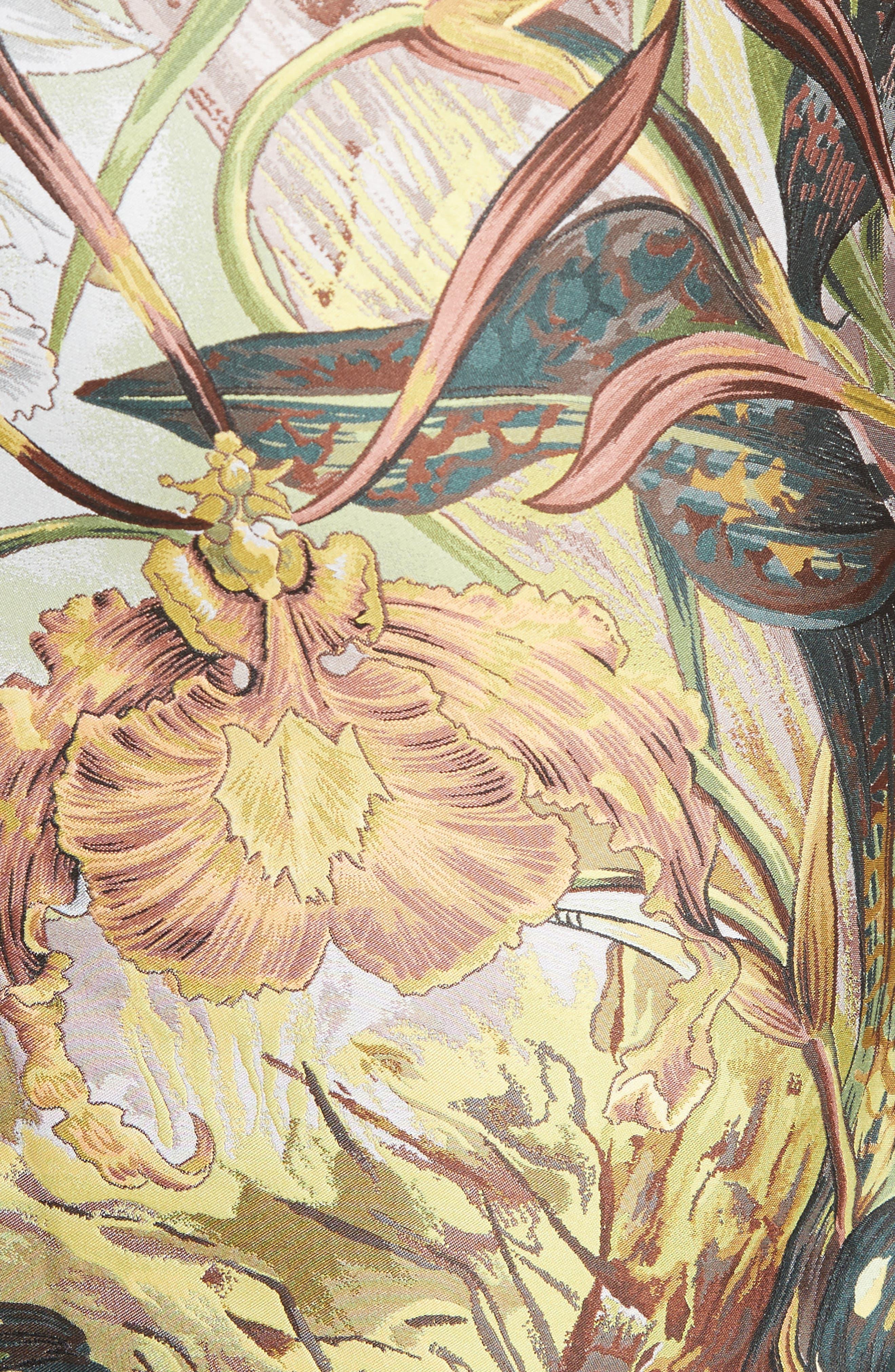 Orchid Print Jacquard Pencil Skirt,                             Alternate thumbnail 5, color,                             650