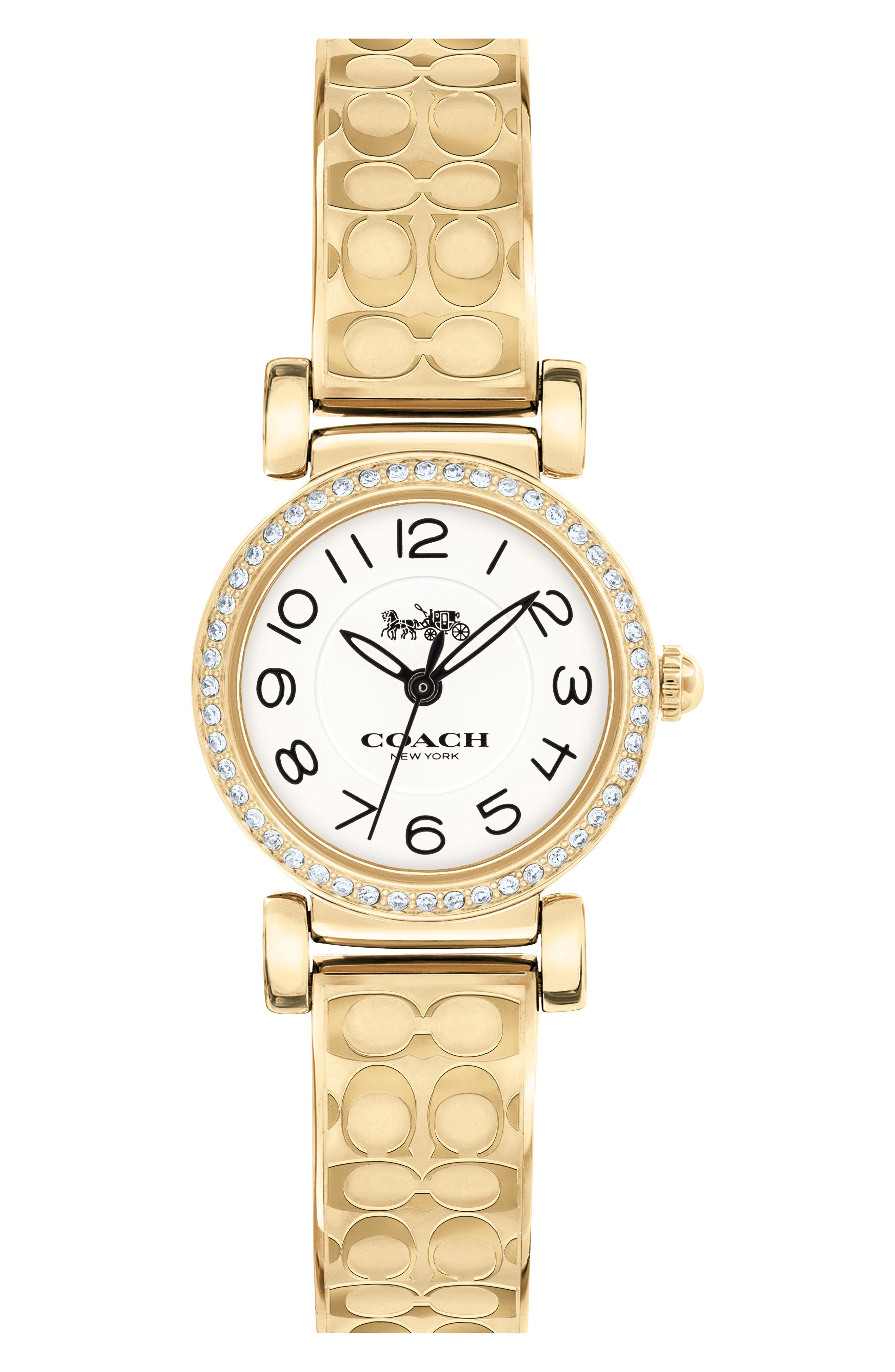 Madison Crystal Bracelet Watch, 23mm,                         Main,                         color, GOLD/ WHITE/ SILVER