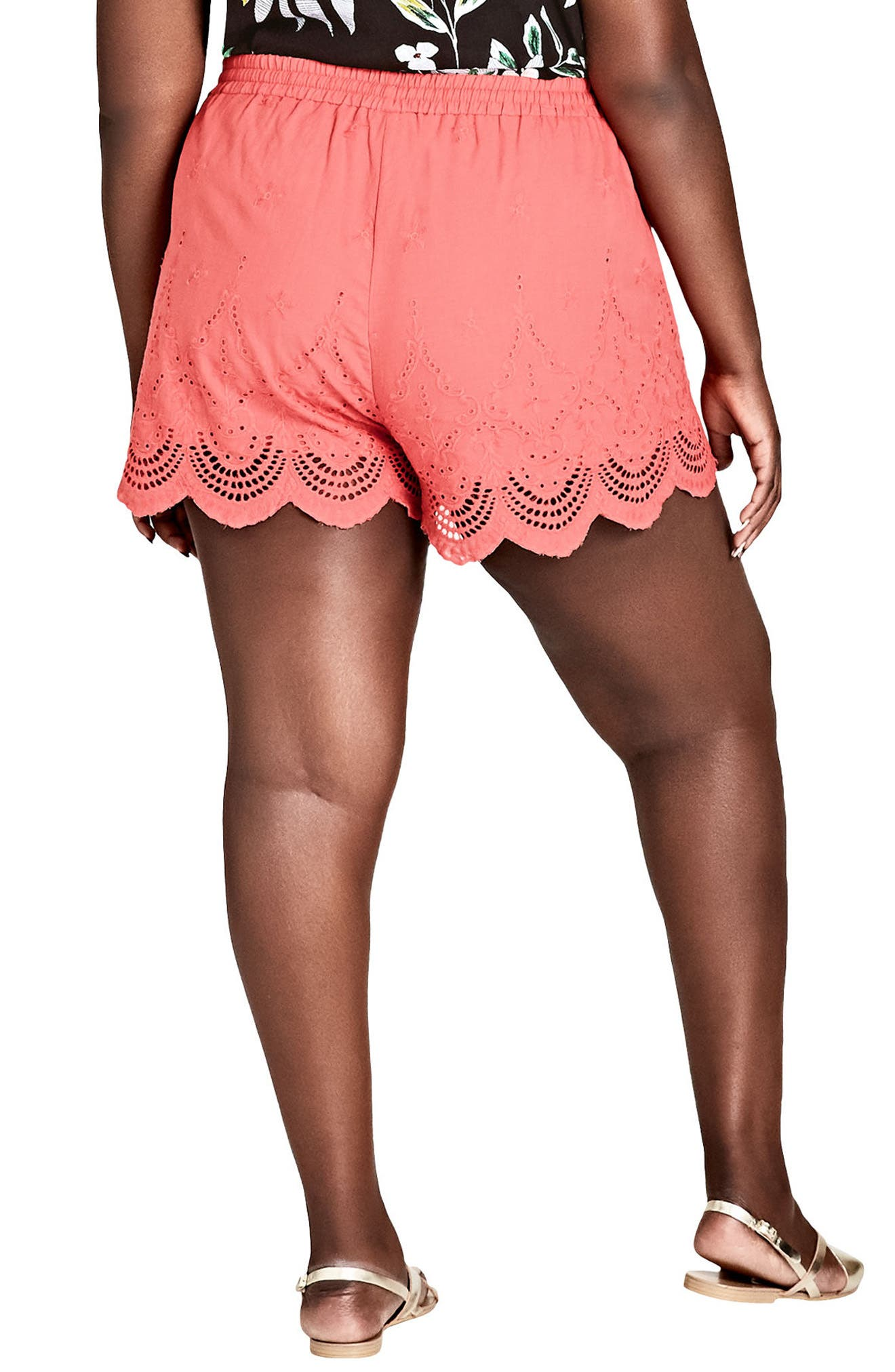 Summer Love Drawstring Shorts,                             Alternate thumbnail 2, color,                             DARK CORAL