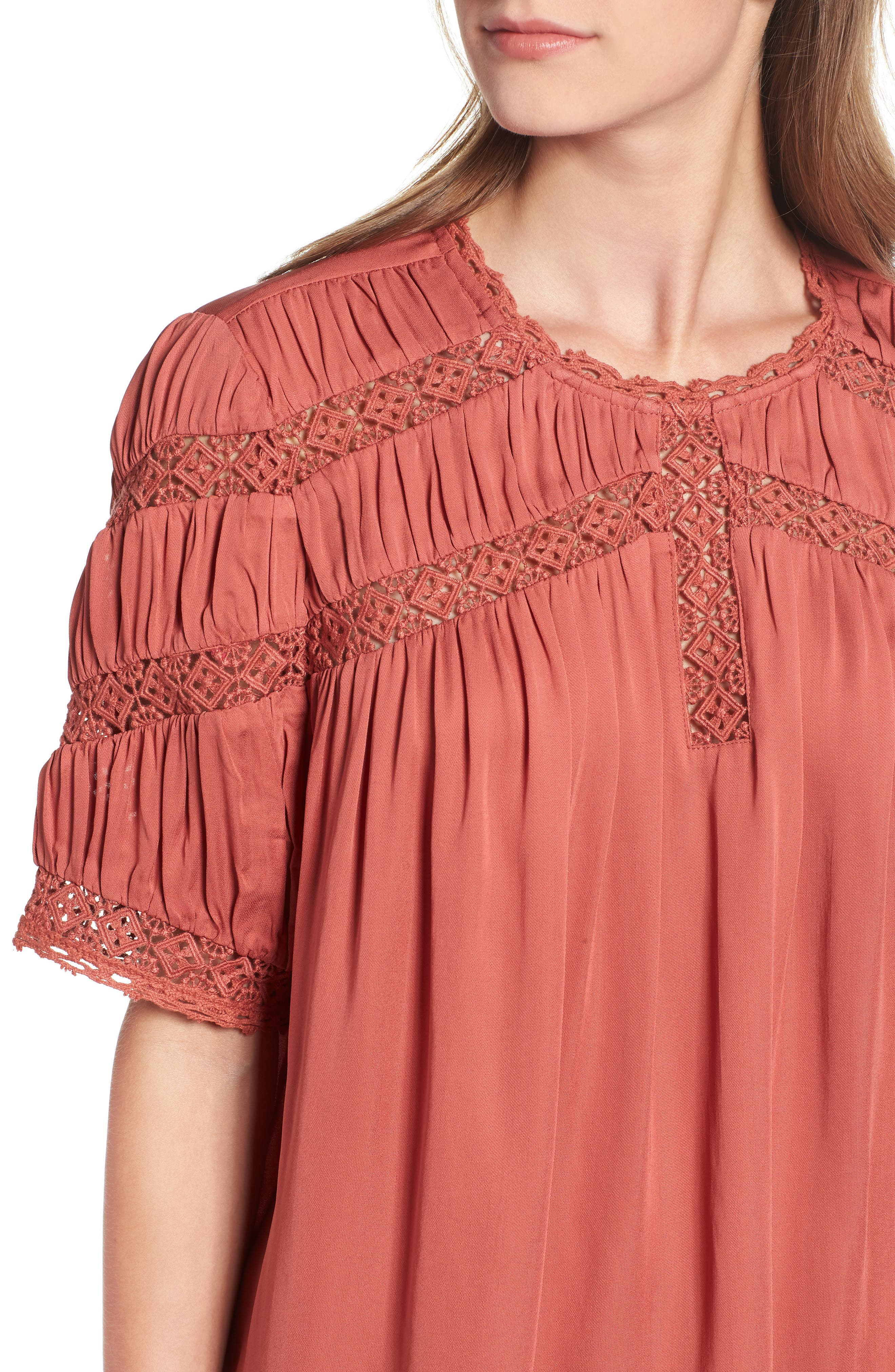 HINGE,                             Gathered Lace Top,                             Alternate thumbnail 4, color,                             660