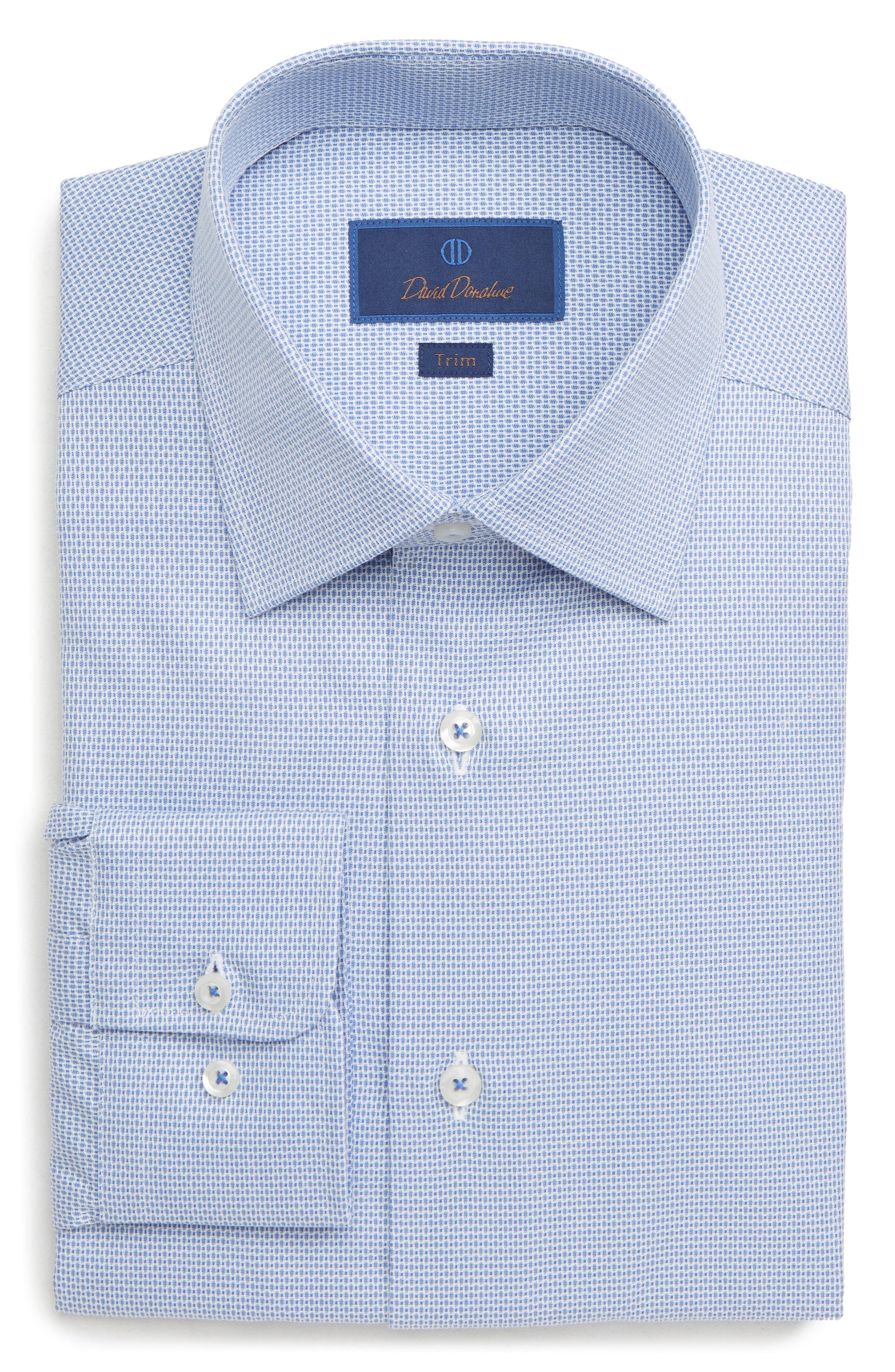Trim Fit Print Dress Shirt, Main, color, BLUE