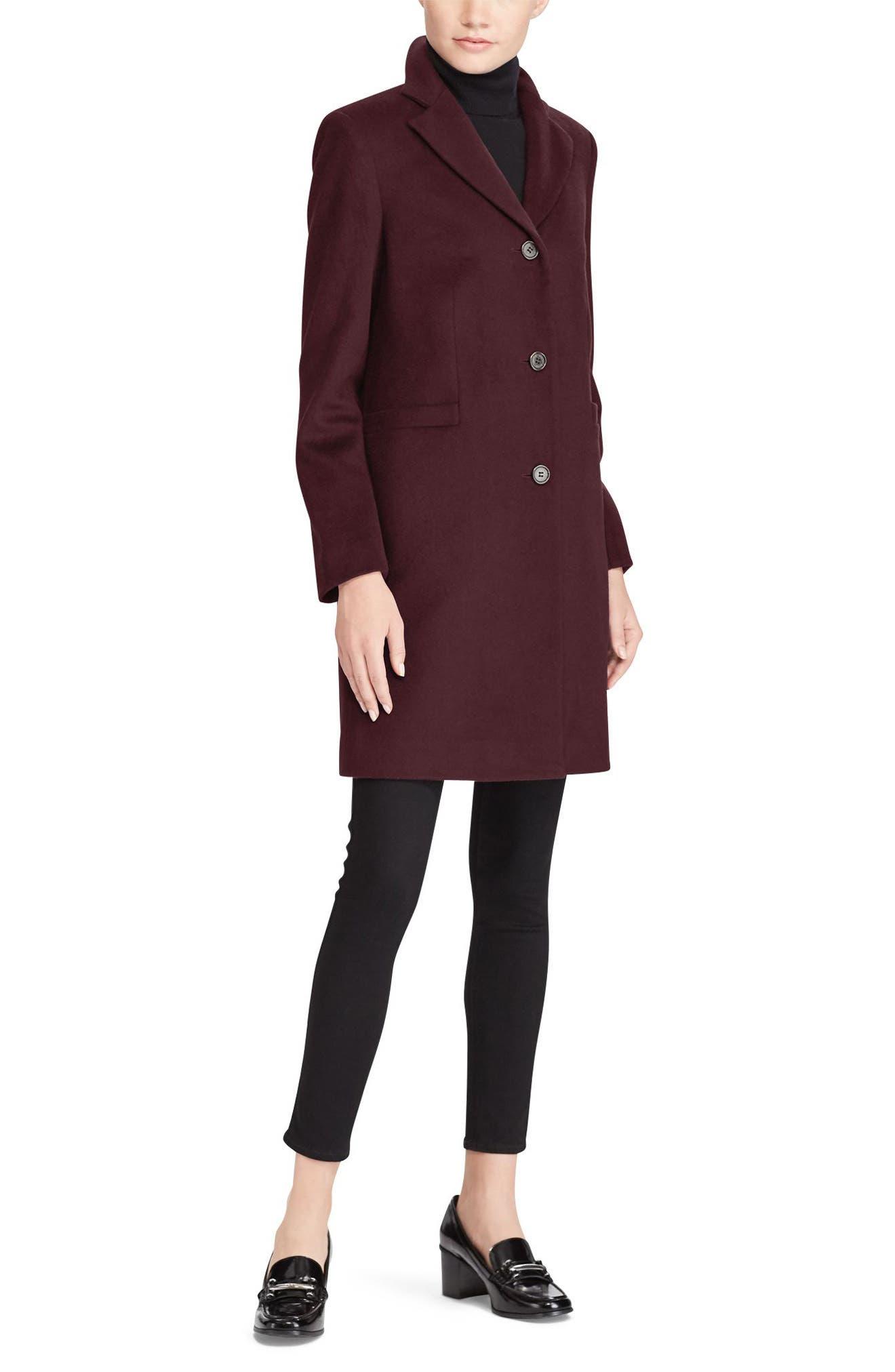 Wool Blend Reefer Coat, Alternate, color, BURGUNDY