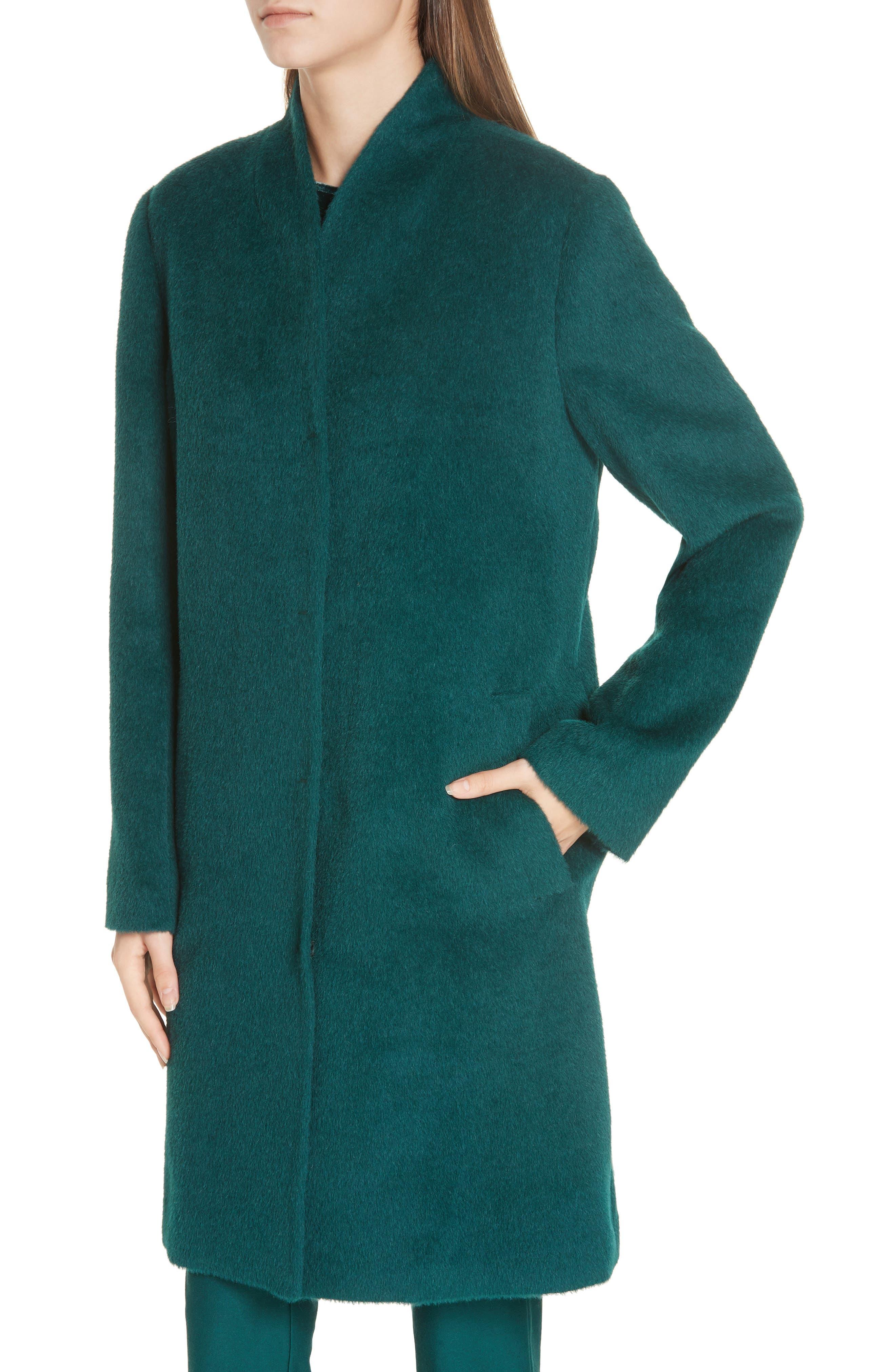 Suri Alpaca Blend Coat,                             Alternate thumbnail 4, color,                             PINE
