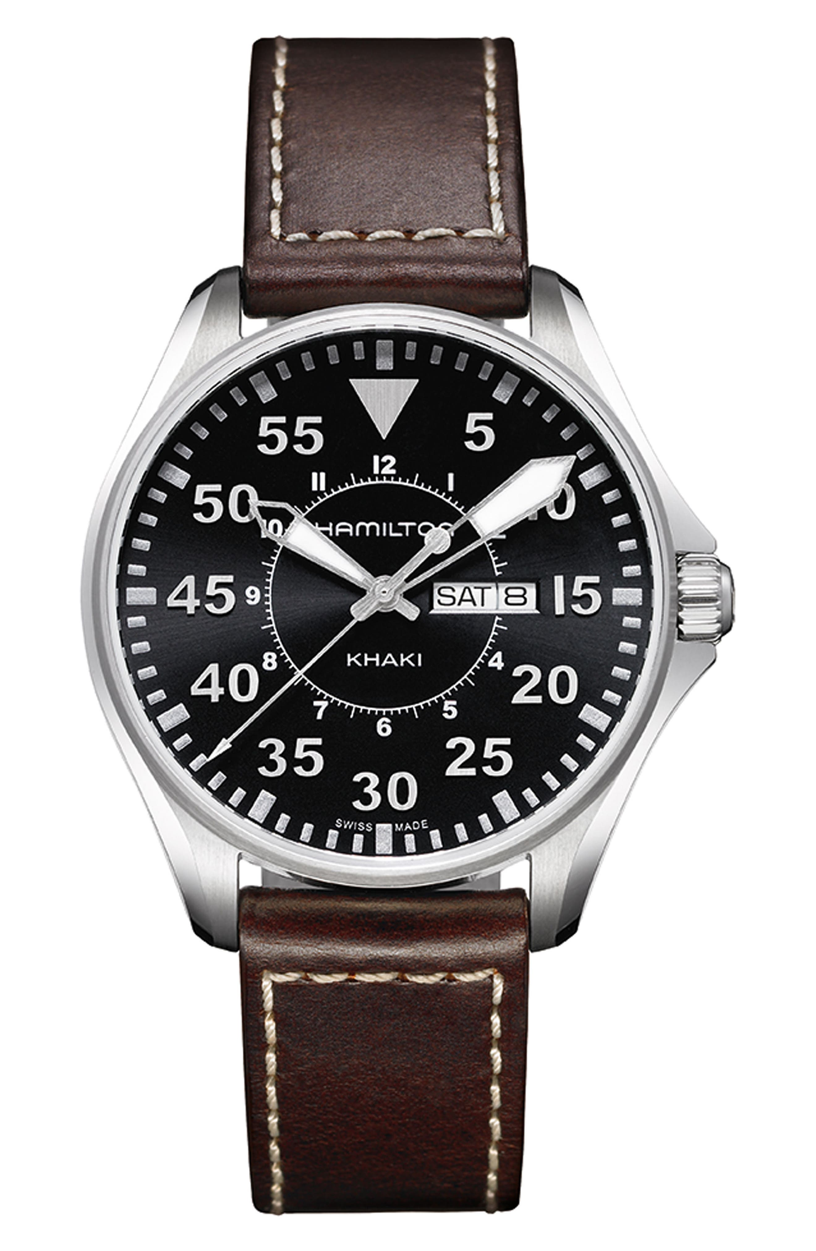 Khaki Aviation Pilot Leather Strap Watch, 42mm,                             Main thumbnail 1, color,                             BROWN/ BLACK/ SILVER
