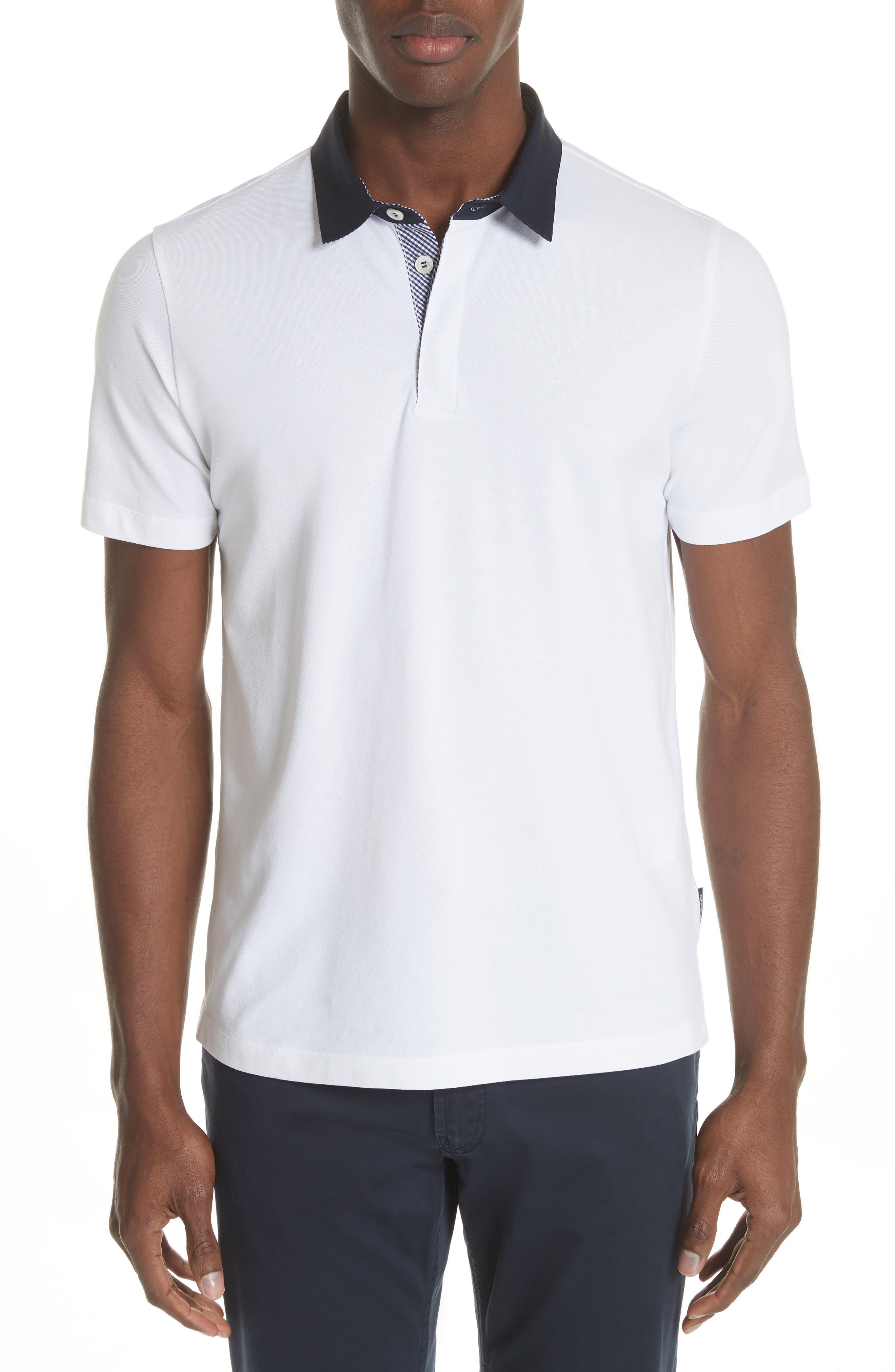 Stretch Cotton Polo Shirt,                         Main,                         color, BIANCO OTTICO