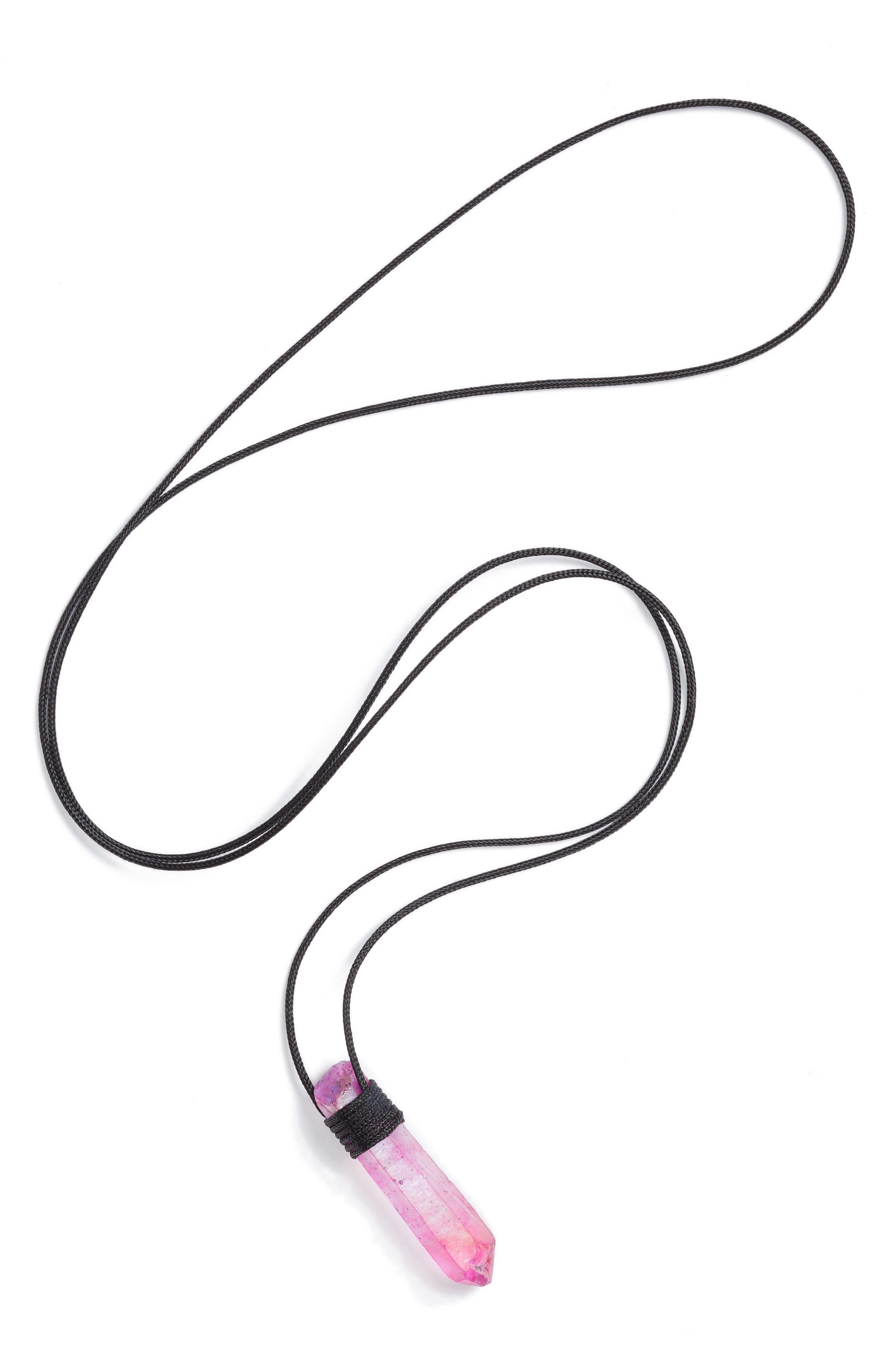 Fuchsia Quartz Pendant Necklace,                             Main thumbnail 1, color,                             650
