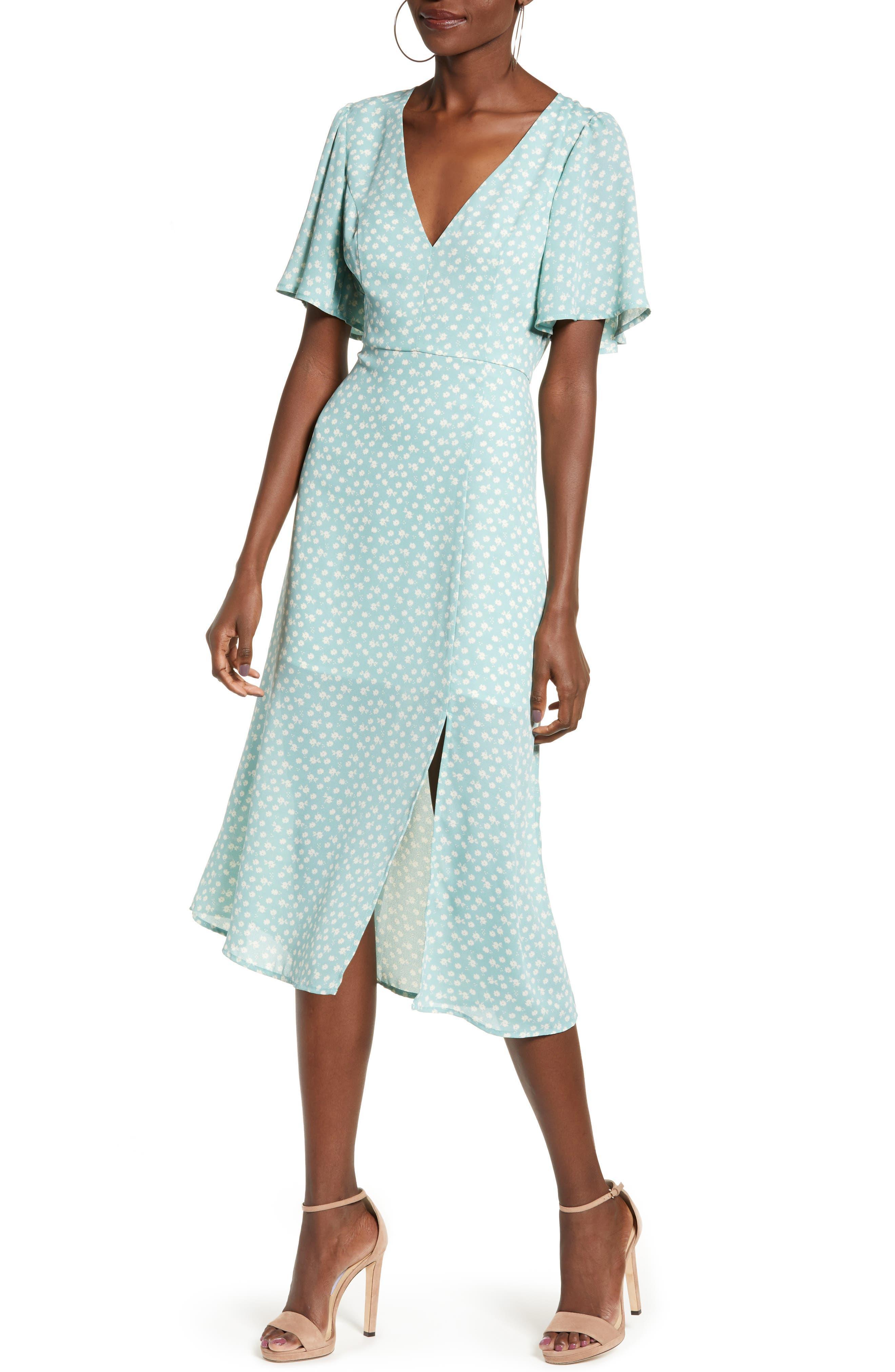 Leith Flutter Sleeve Midi Dress, Green