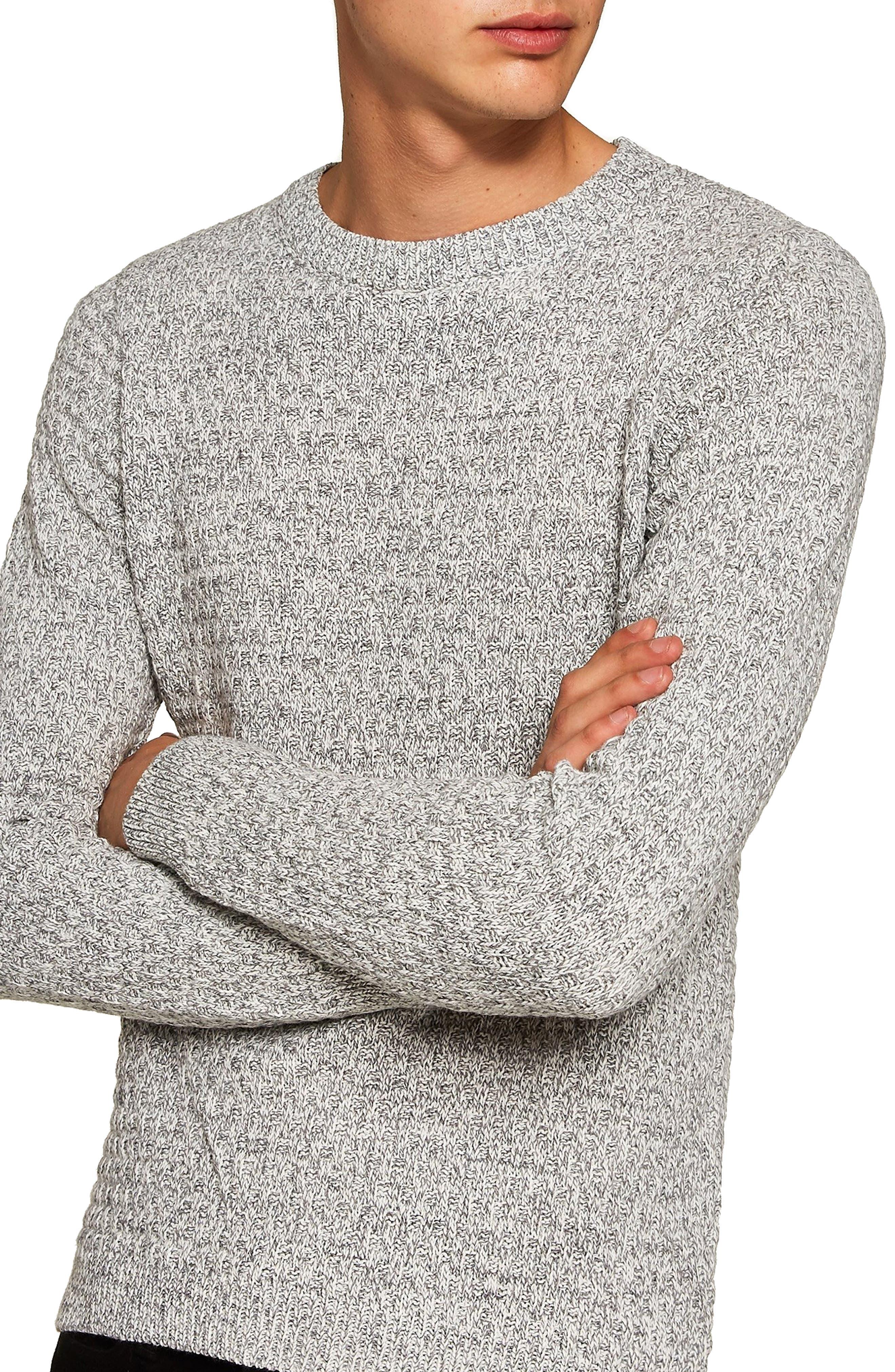 Textured Crewneck Sweater,                             Main thumbnail 1, color,                             GREY