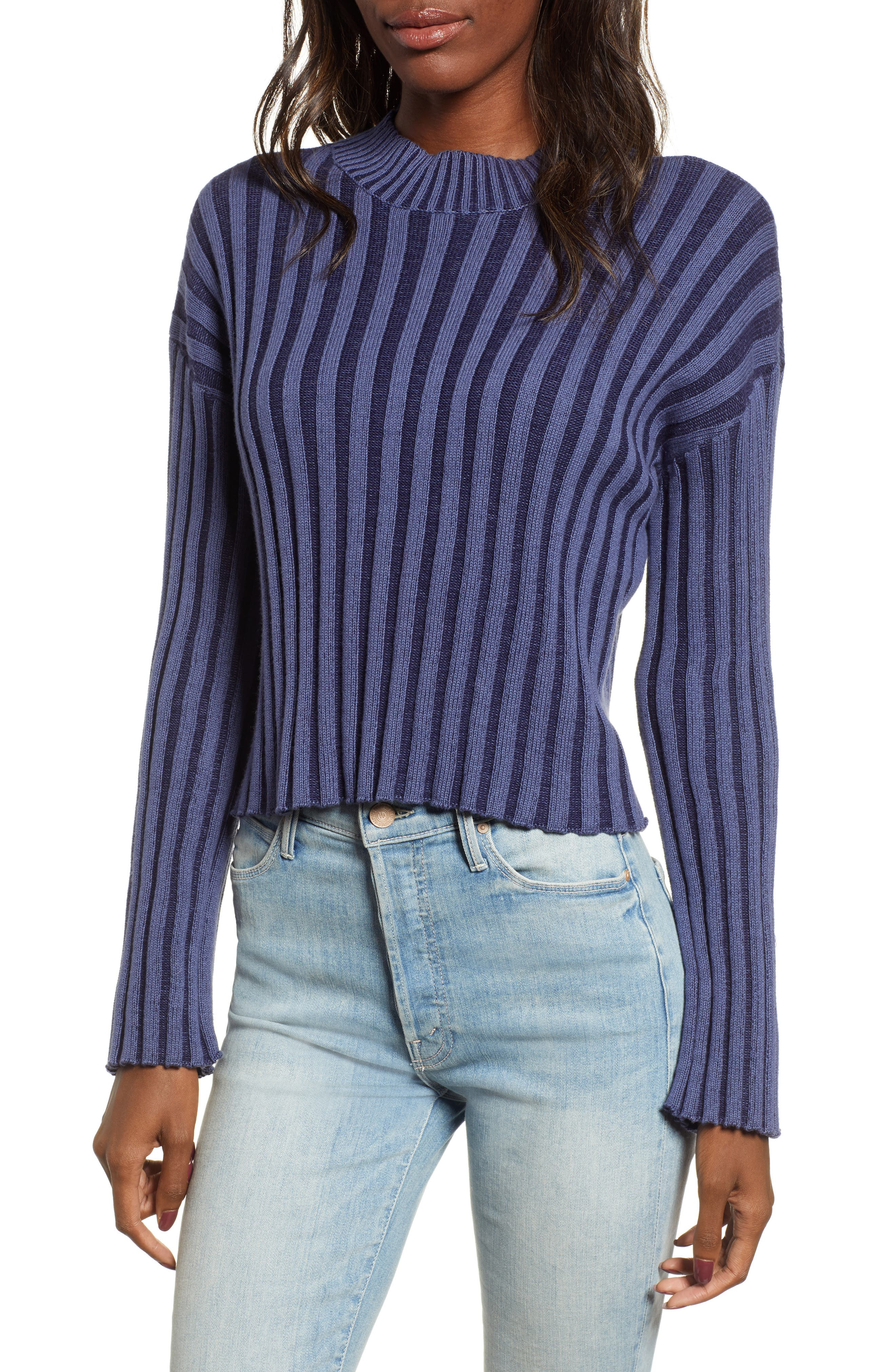Shadow Rib Crop Sweater,                             Main thumbnail 1, color,                             NAVY EVENING