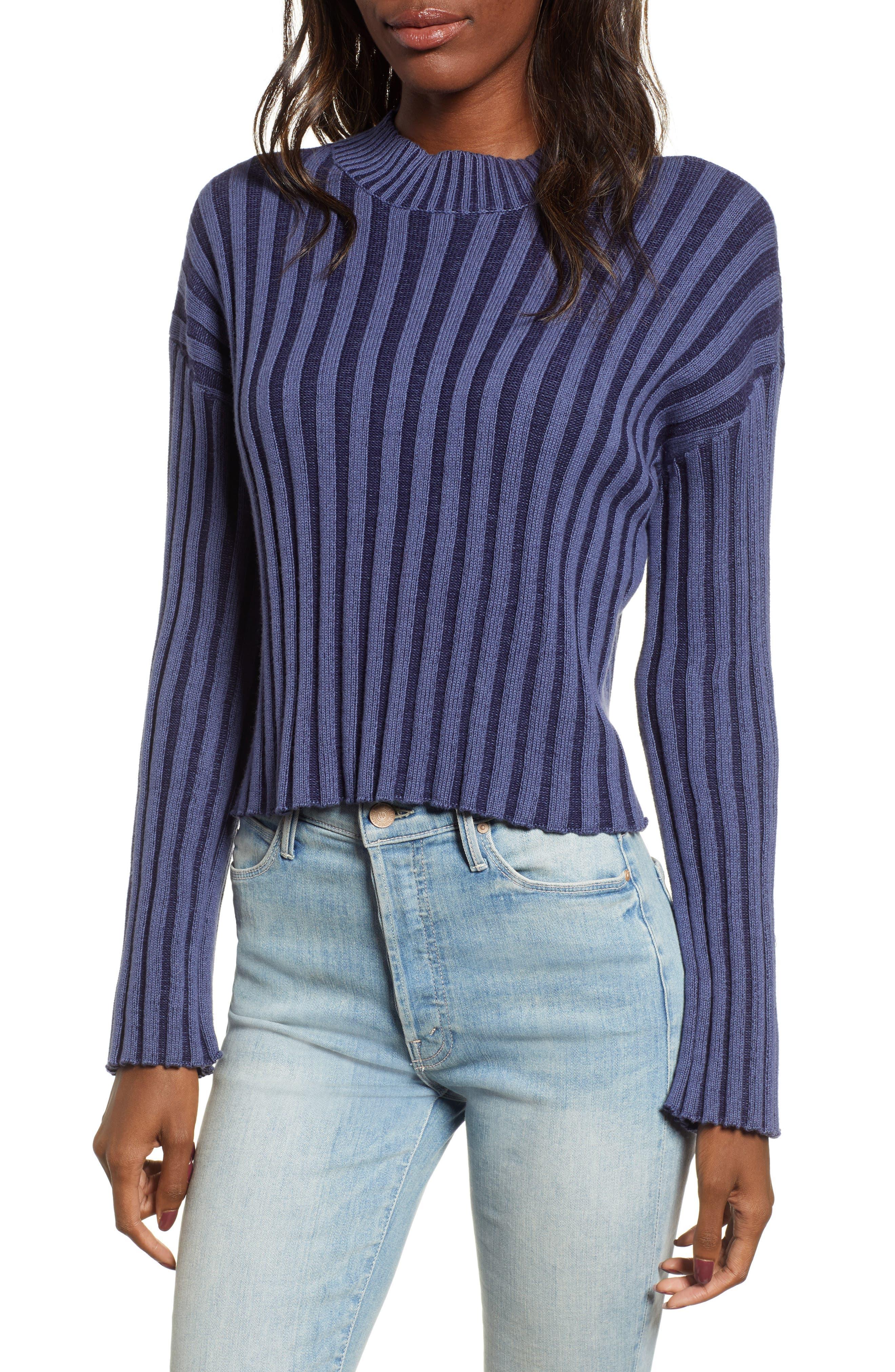 Shadow Rib Crop Sweater, Main, color, NAVY EVENING