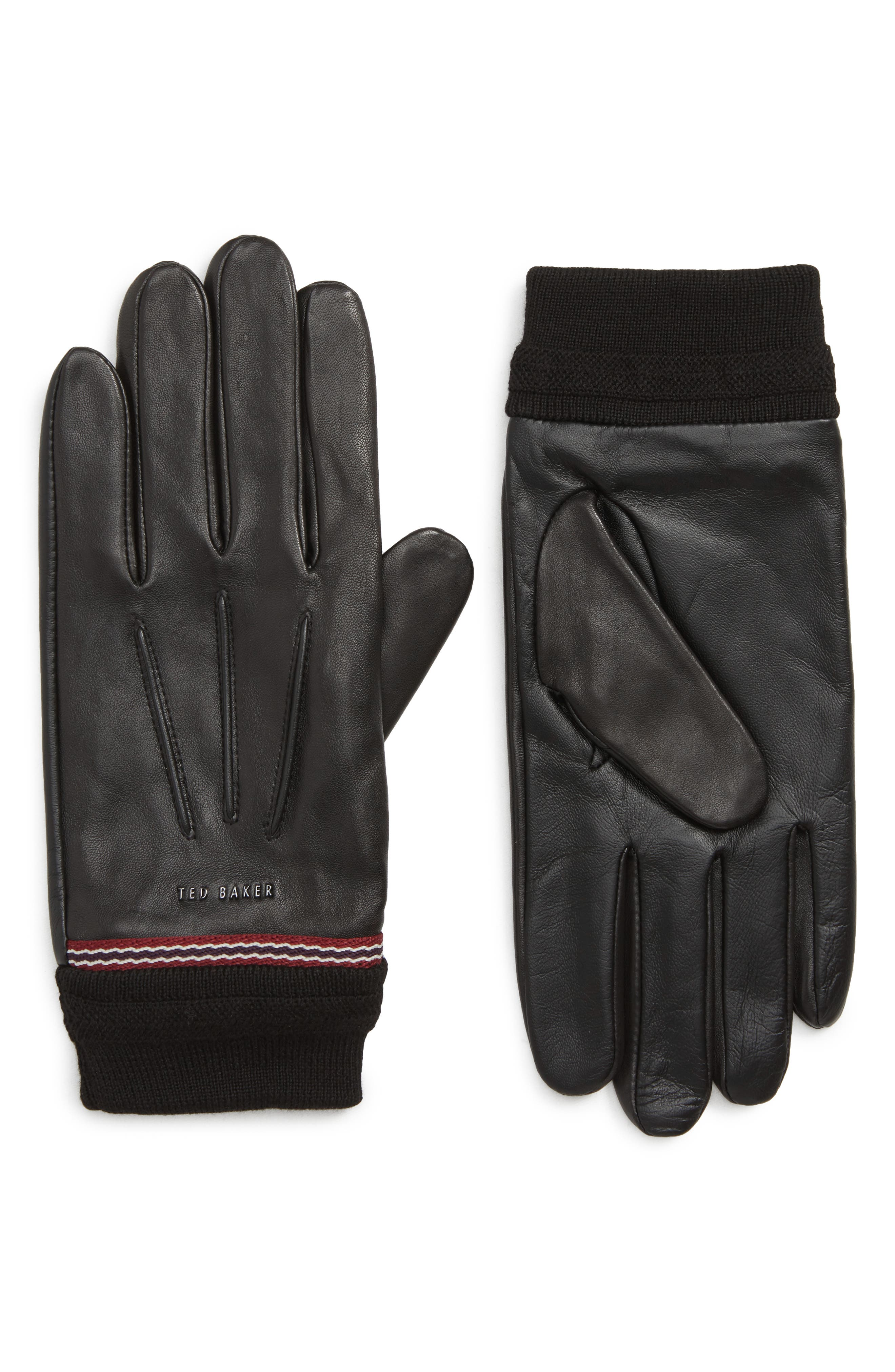 Cuffed Leather Touchscreen Gloves,                         Main,                         color, 001