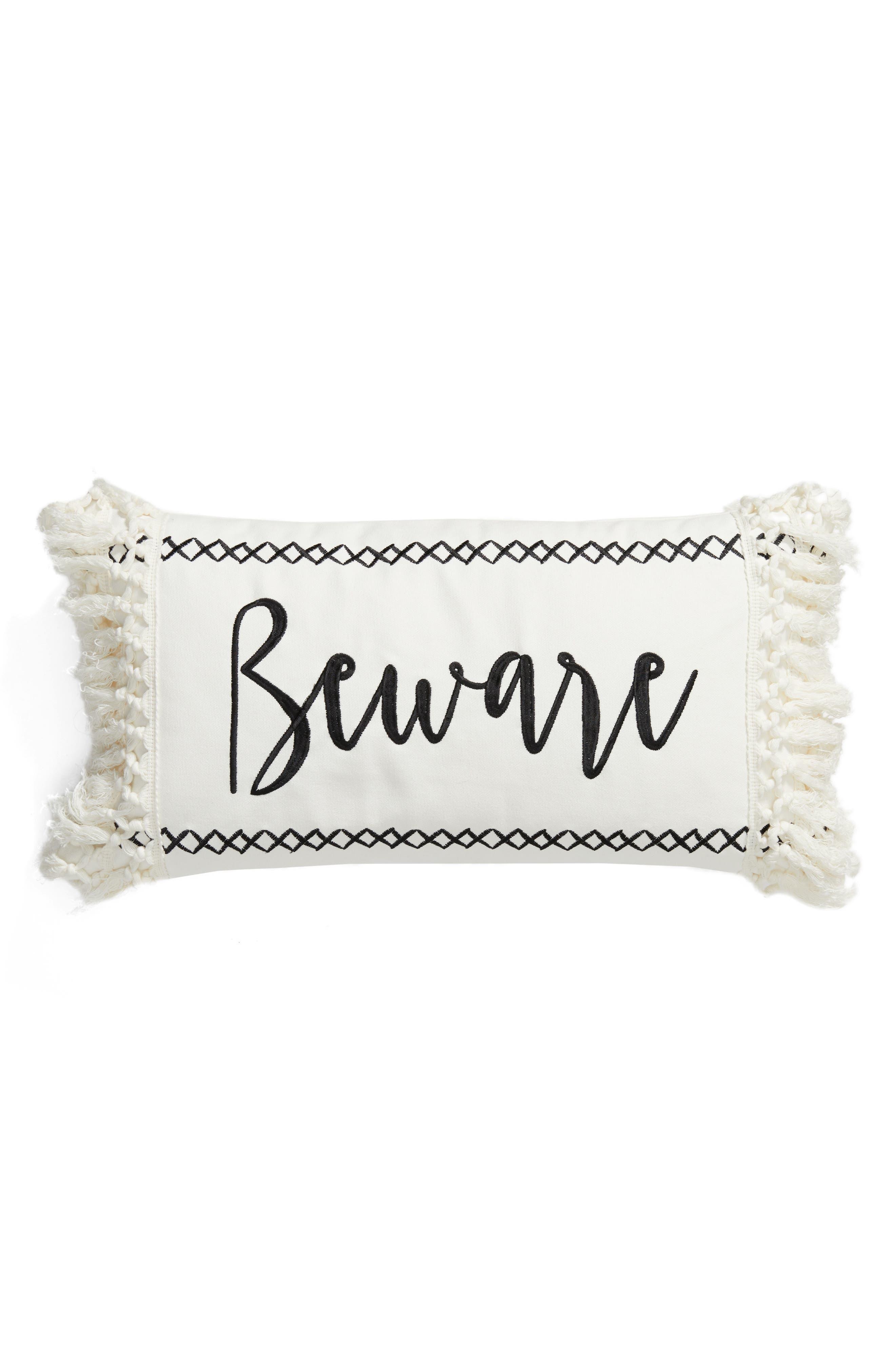 Beware Accent Pillow,                         Main,                         color, 900