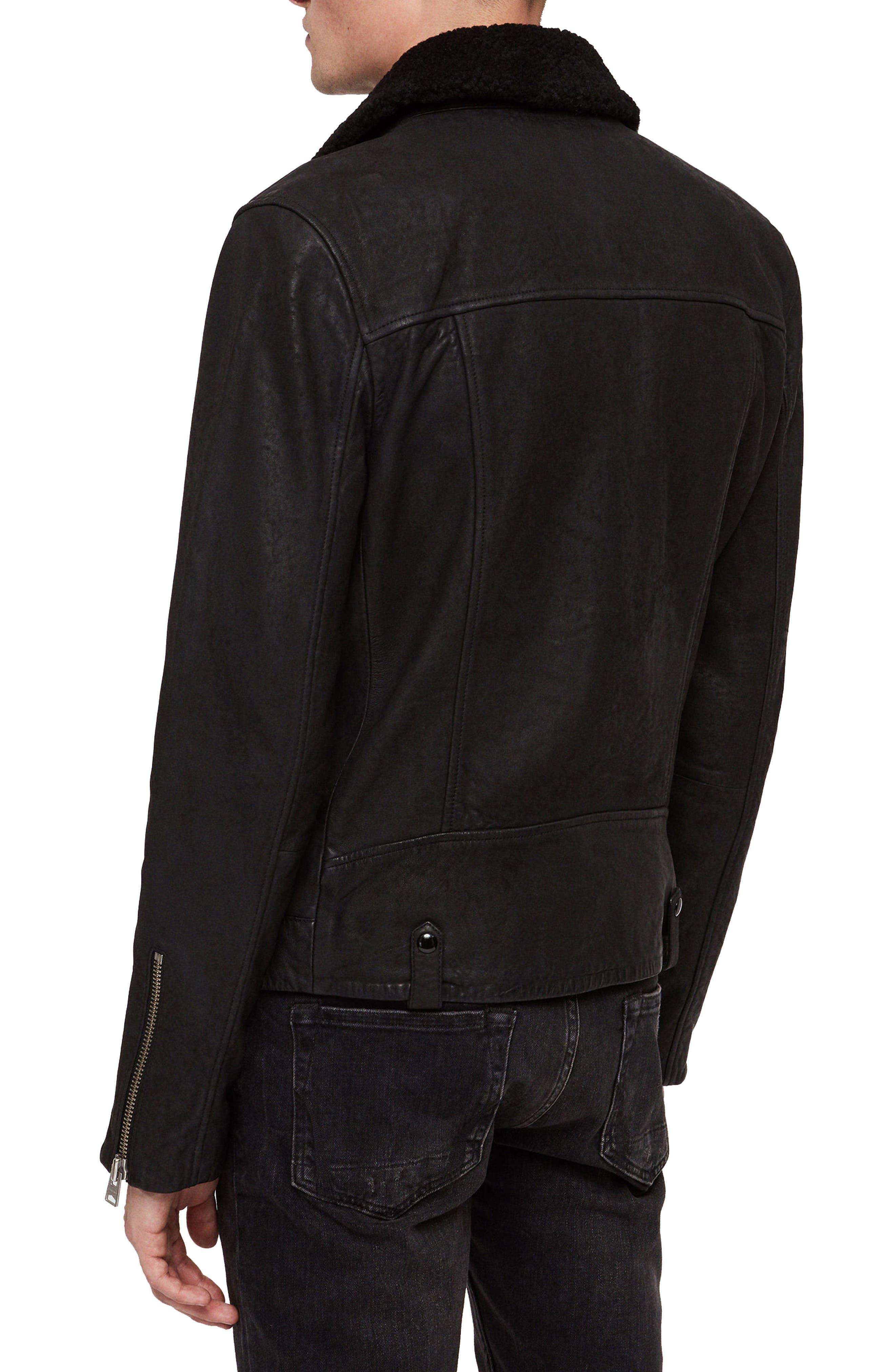 Hanoi Regular Fit Genuine Lambskin Shearling Trim Leather Biker Jacket,                             Alternate thumbnail 2, color,                             001
