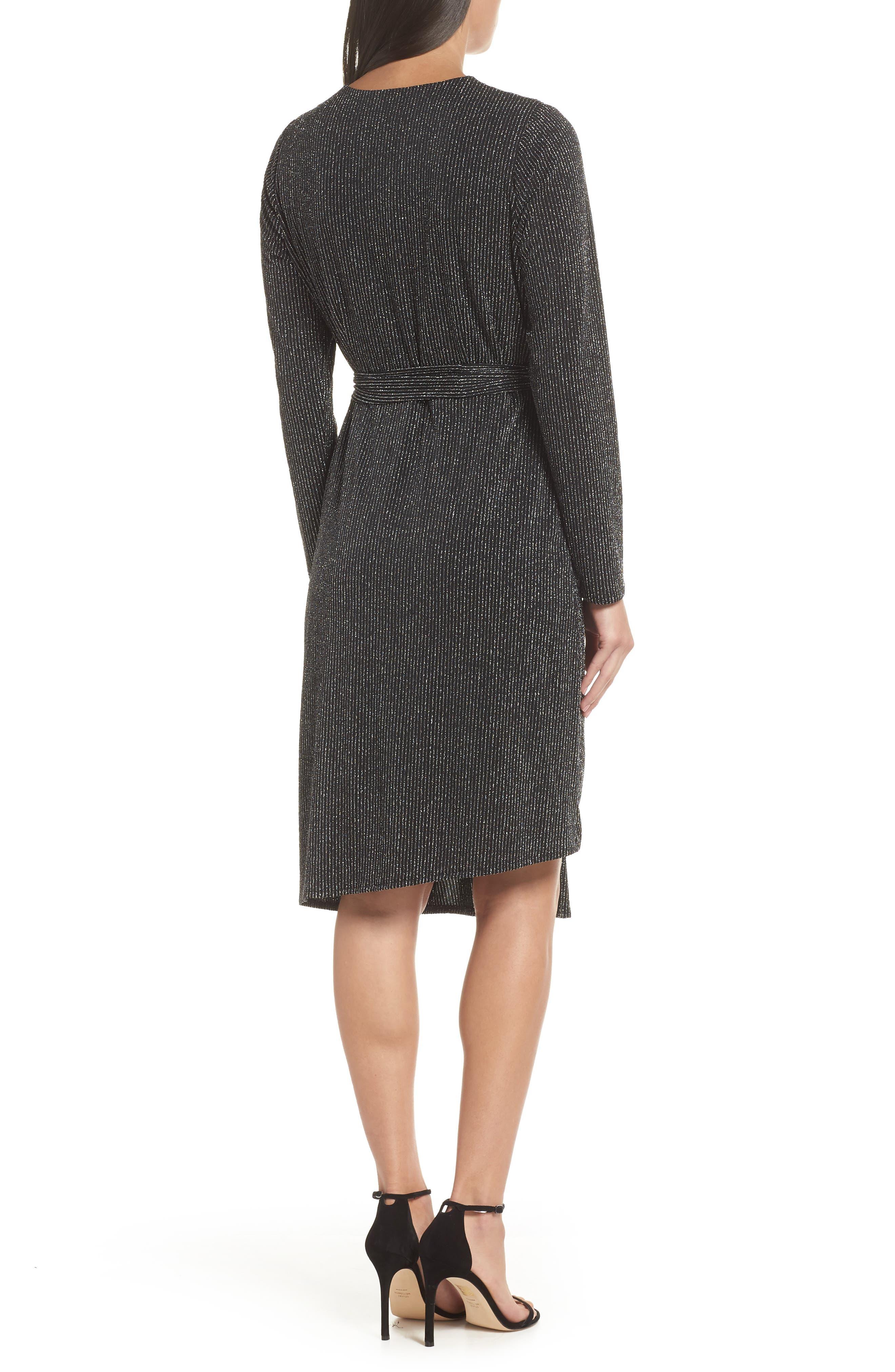 SAM EDELMAN,                             Metallic Faux Wrap Knit Dress,                             Alternate thumbnail 2, color,                             SILVER METALLIC