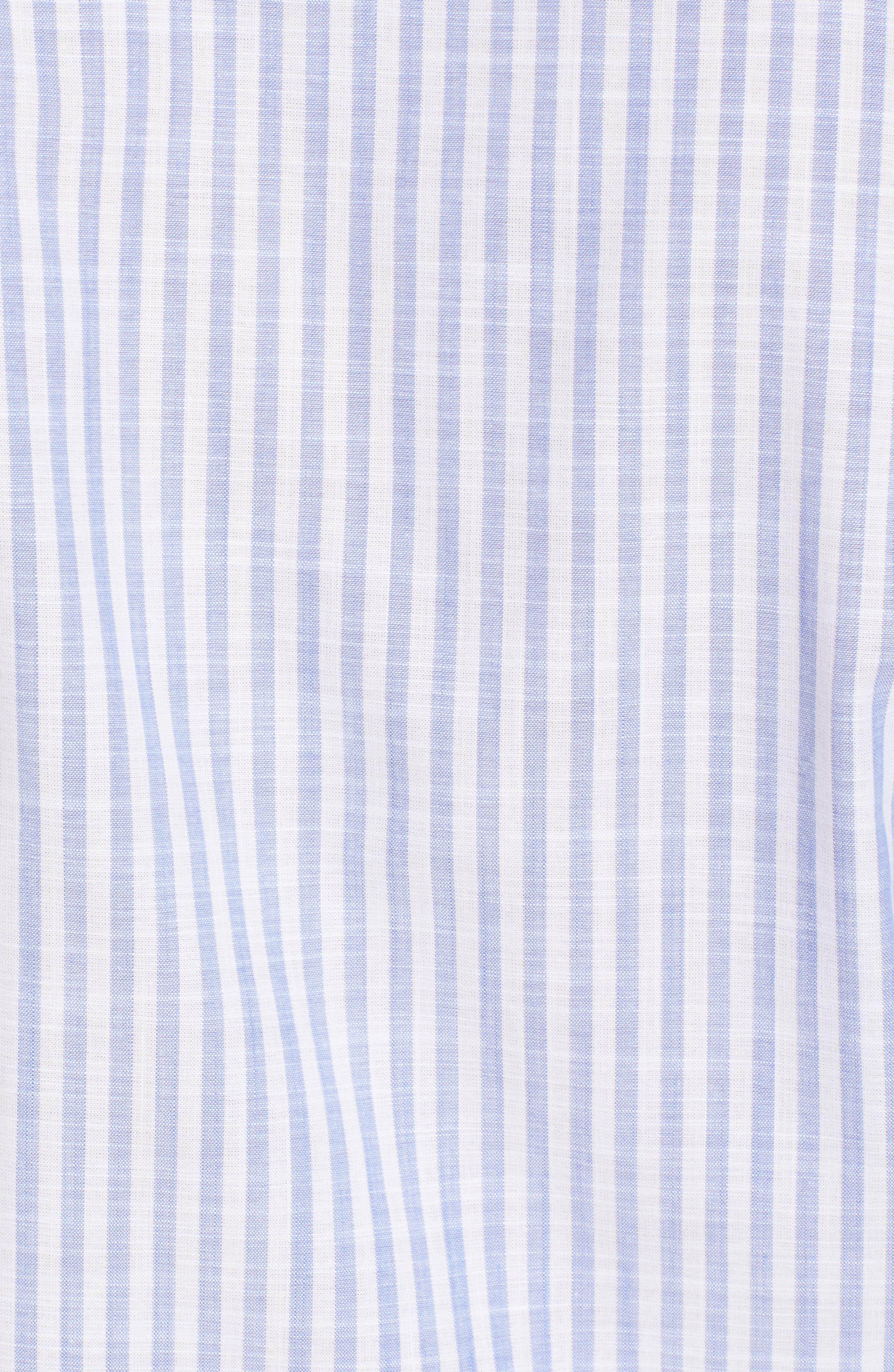 Summer Stripe Chambray Sport Shirt,                             Alternate thumbnail 5, color,                             433
