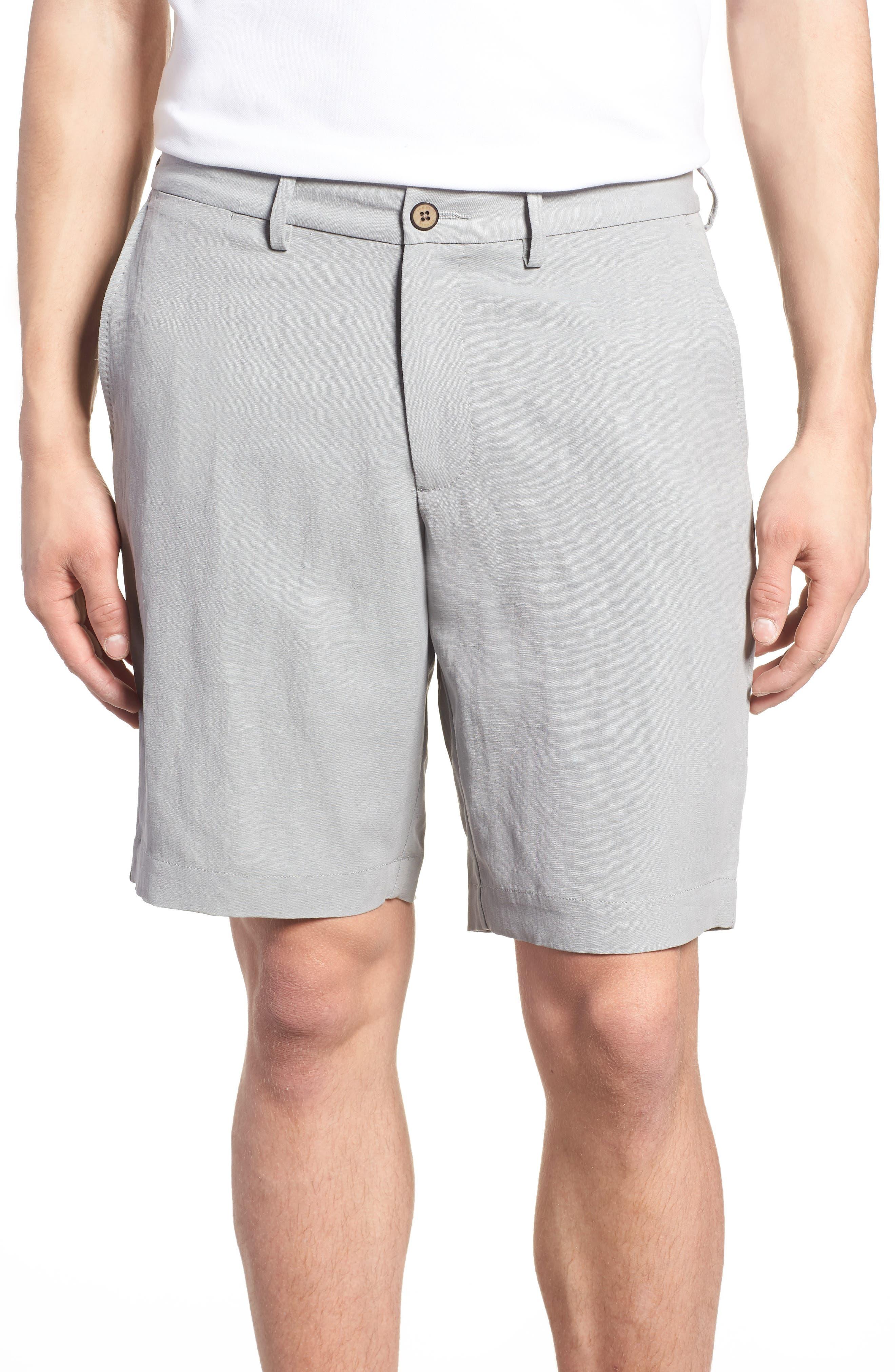 Monterey Flat Front Silk & Linen Shorts,                         Main,                         color, LIGHT GREY