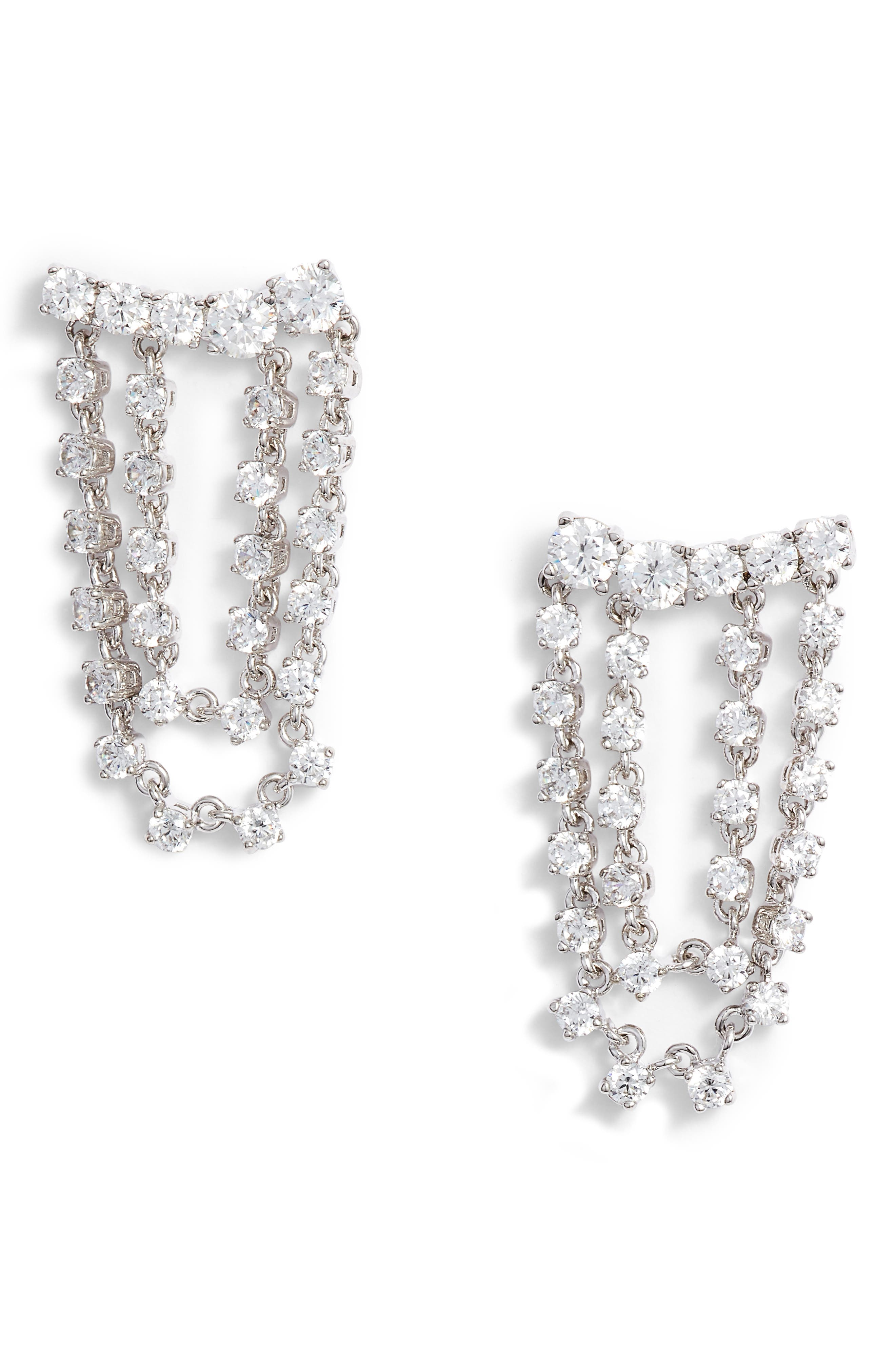 Draped Cubic Zirconia Earrings,                         Main,                         color, CLEAR- SILVER