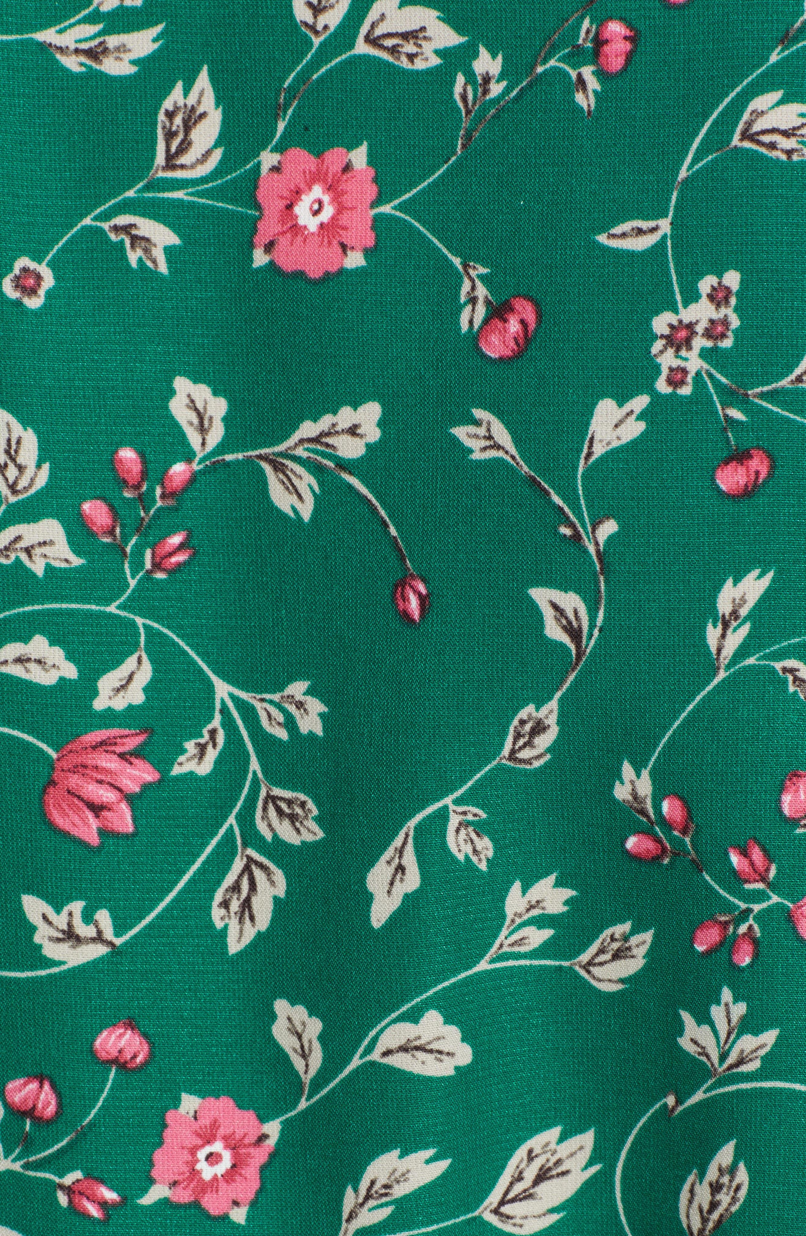 Floral Tie Front Peplum Top,                             Alternate thumbnail 5, color,                             300