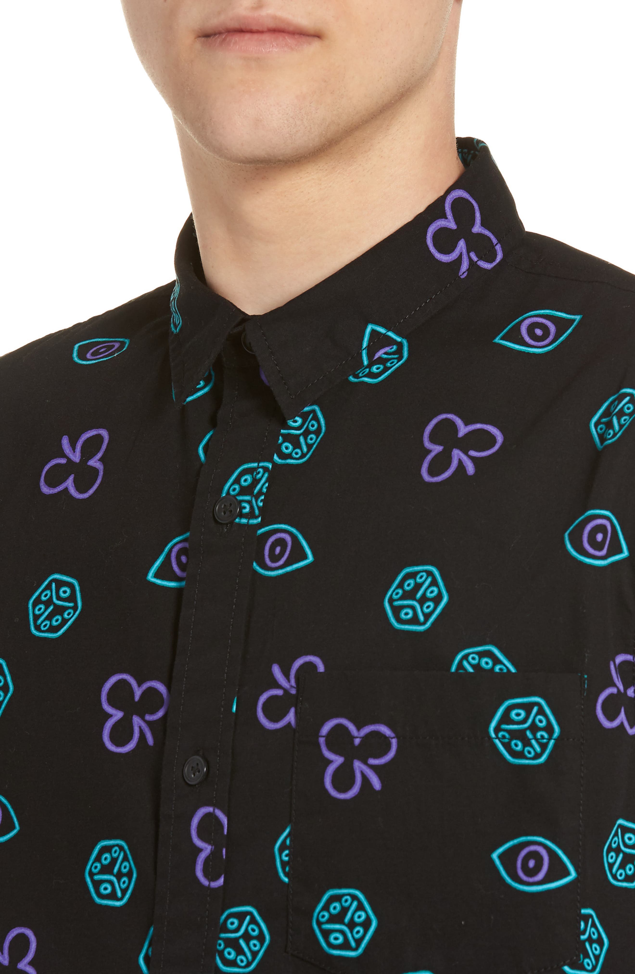 Short Sleeve Print Poplin Shirt,                             Alternate thumbnail 17, color,