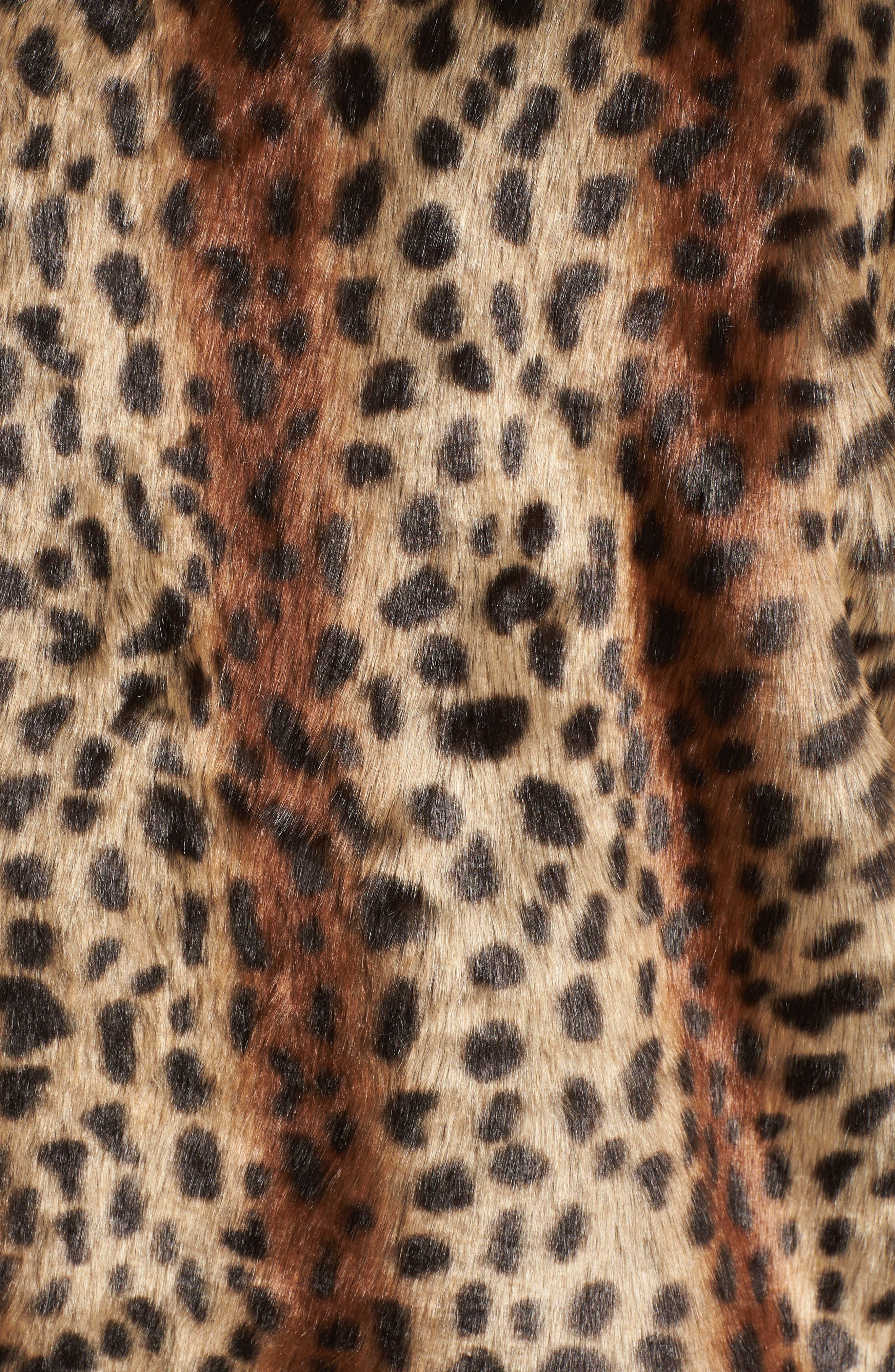 Mika Leopard Faux Fur Jacket,                             Alternate thumbnail 7, color,                             200