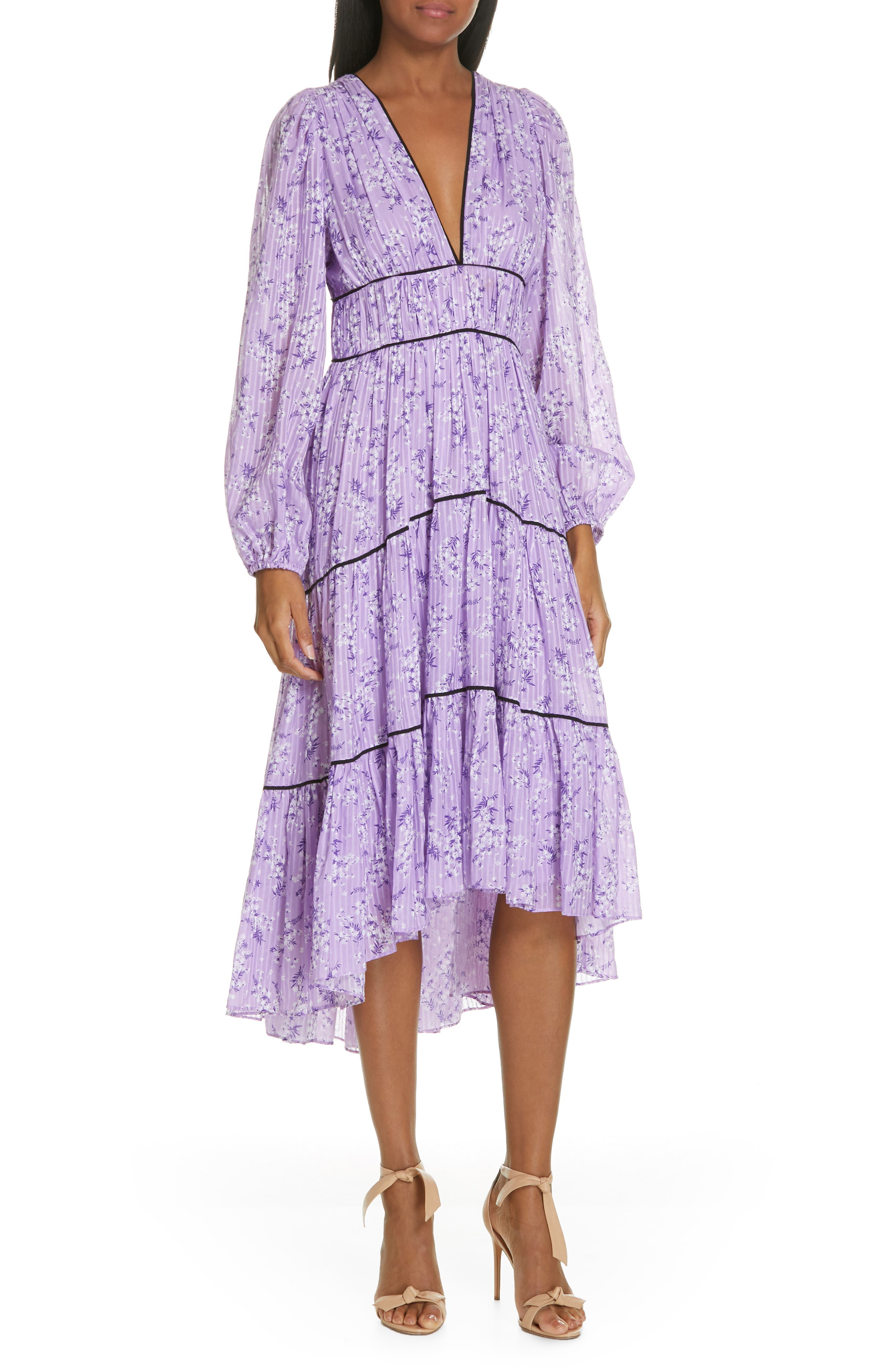 Joan Floral Print Cotton & Silk Midi Dress,                             Main thumbnail 1, color,                             LILAC