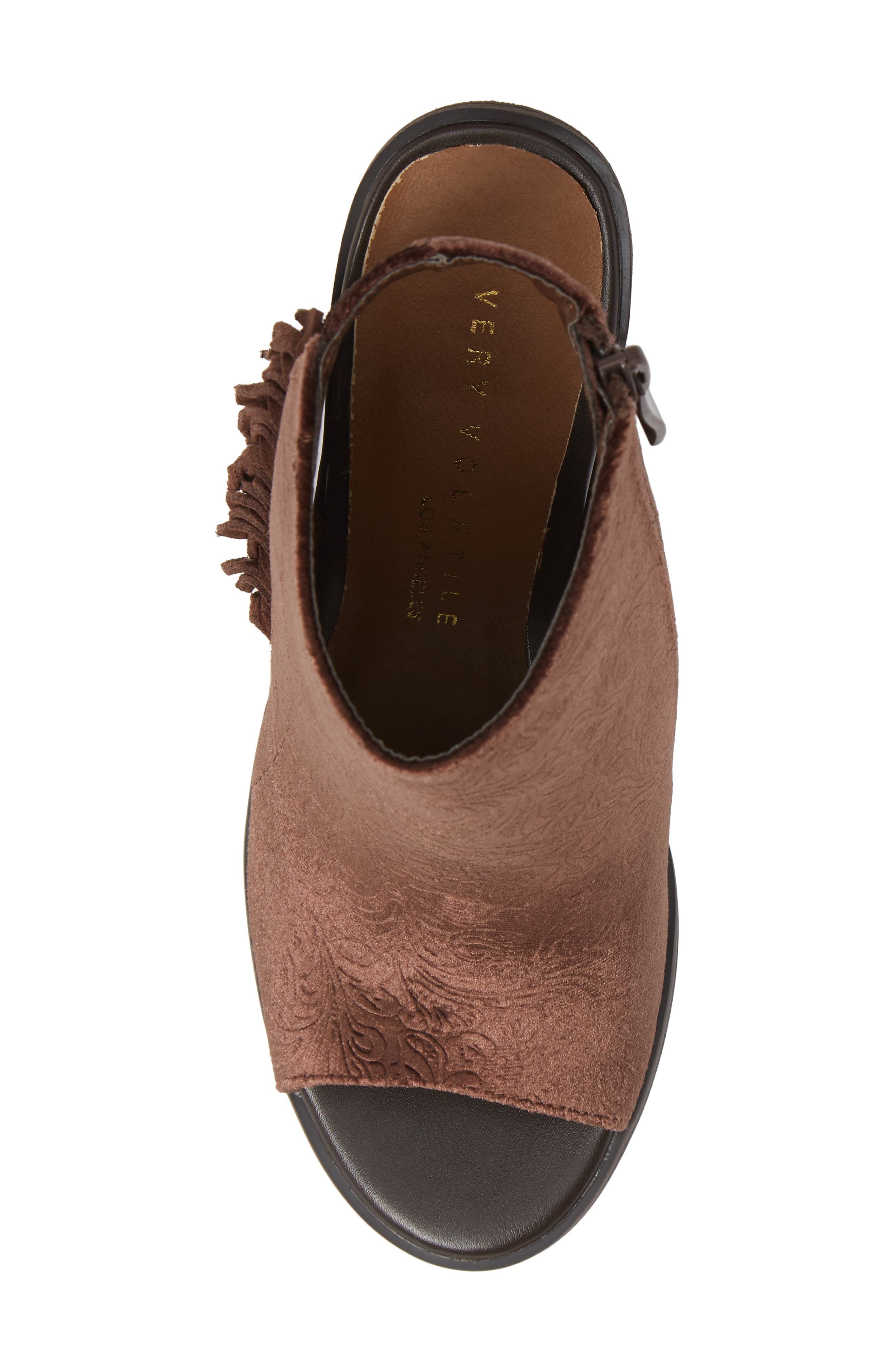 VERY VOLATILE,                             Pony Express Fringe Bootie Sandal,                             Alternate thumbnail 5, color,                             BROWN