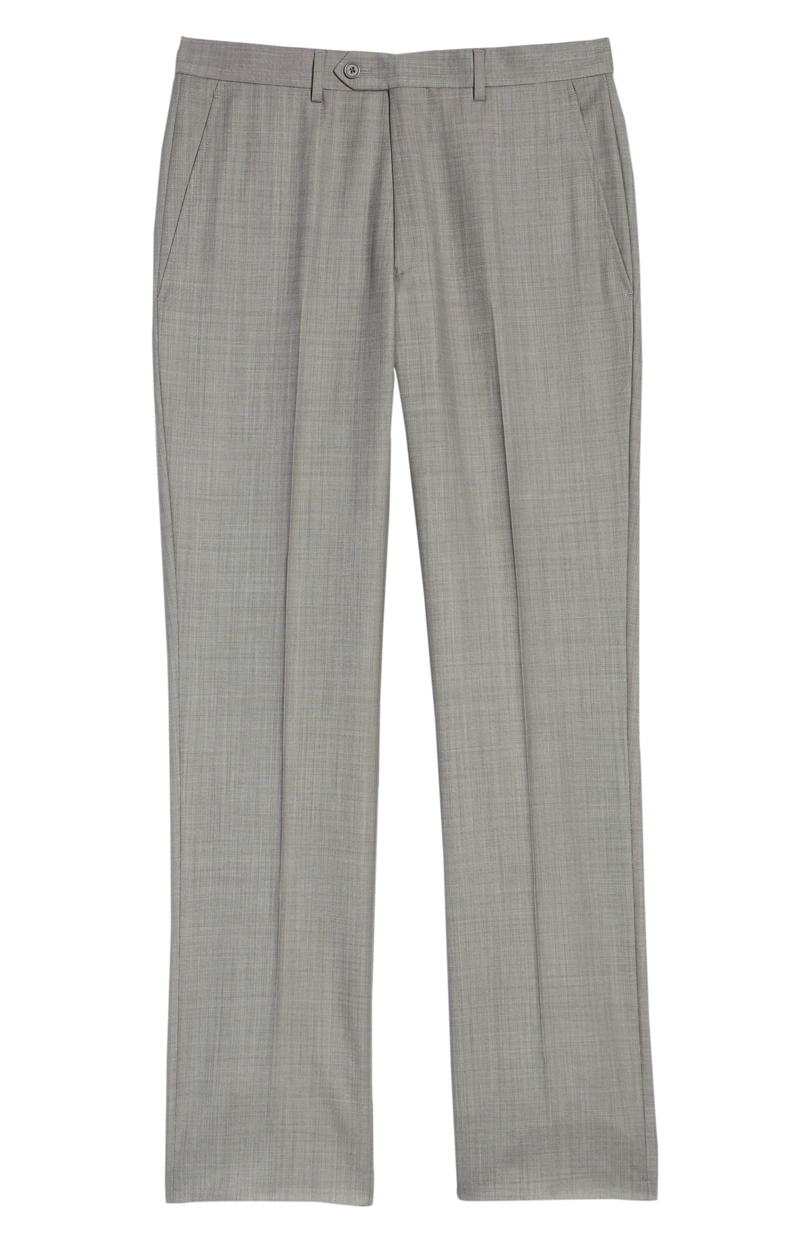 Flat Front Sharkskin Wool Trousers,                             Alternate thumbnail 6, color,                             LIGHT GREY