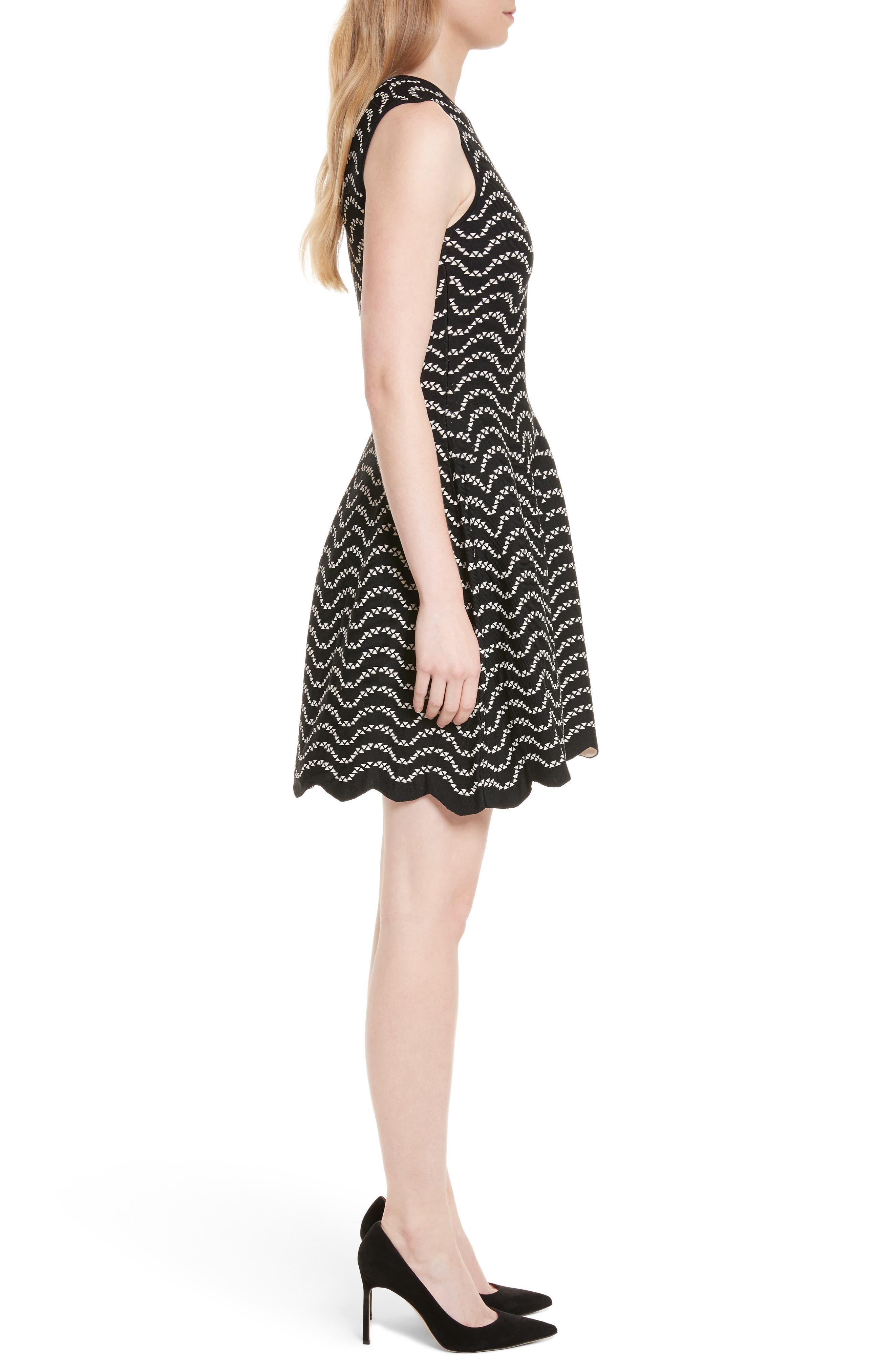 Bryena Jacquard Fit & Flare Dress,                             Alternate thumbnail 3, color,                             001
