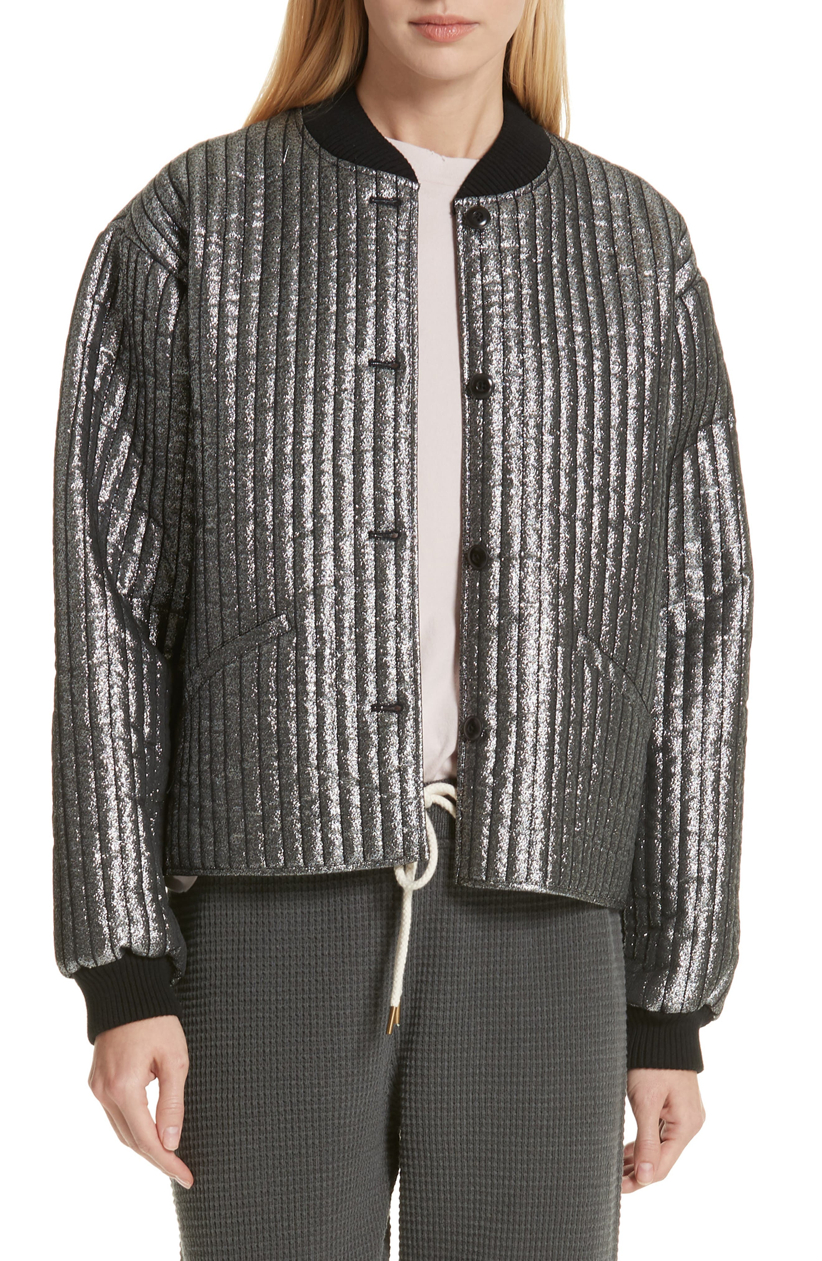 THE GREAT. Quilted Metallic Bomber, Main, color, 040