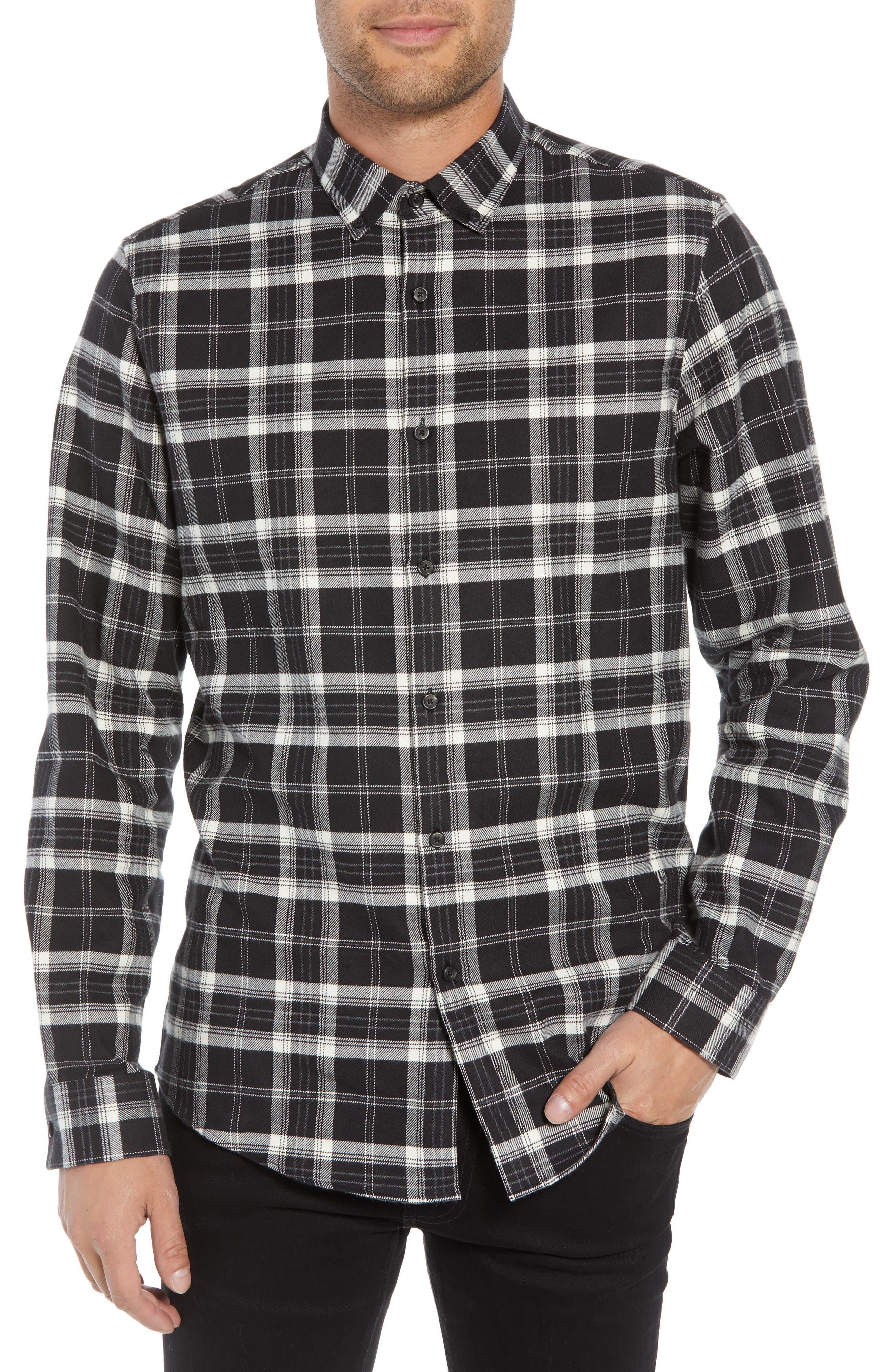 Slim Fit Mini Collar Plaid Flannel Sport Shirt,                         Main,                         color, 001