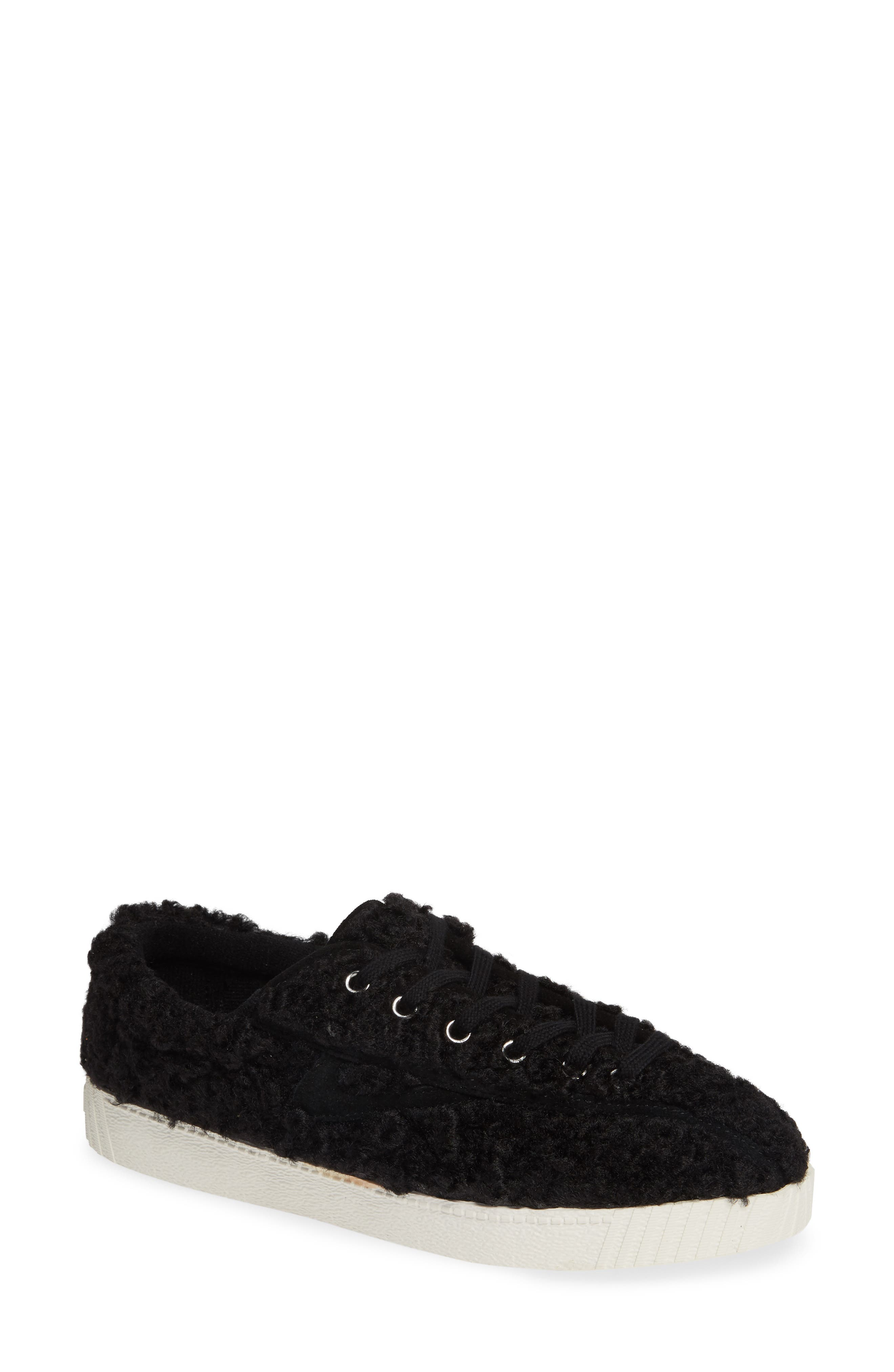 Nylite Faux-Shearling Sneakers in Black
