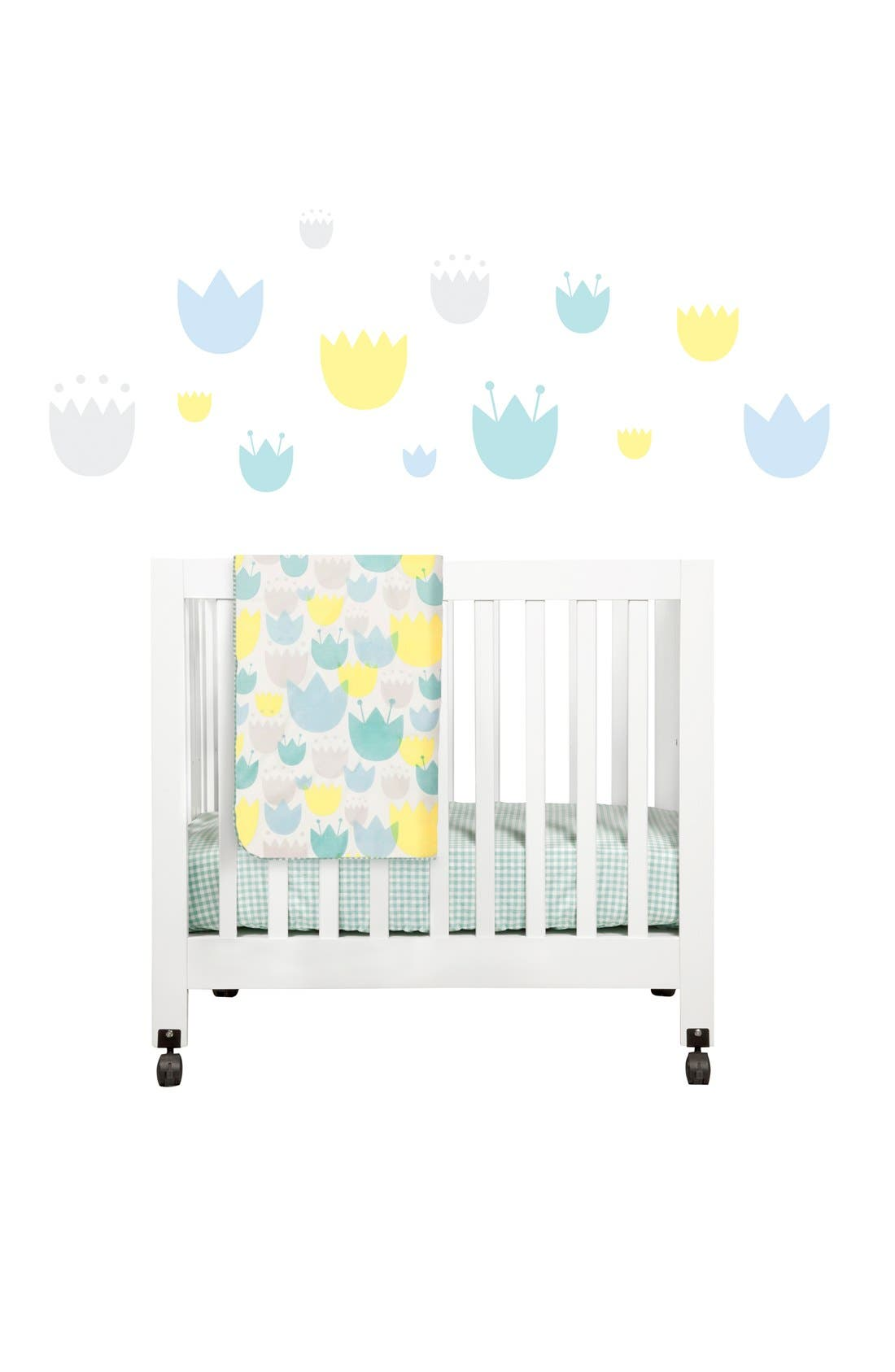 'Garden' Mini Crib Sheet, Changing Pad Cover, Stroller Blanket & Wall Decals,                             Main thumbnail 1, color,                             BLUE