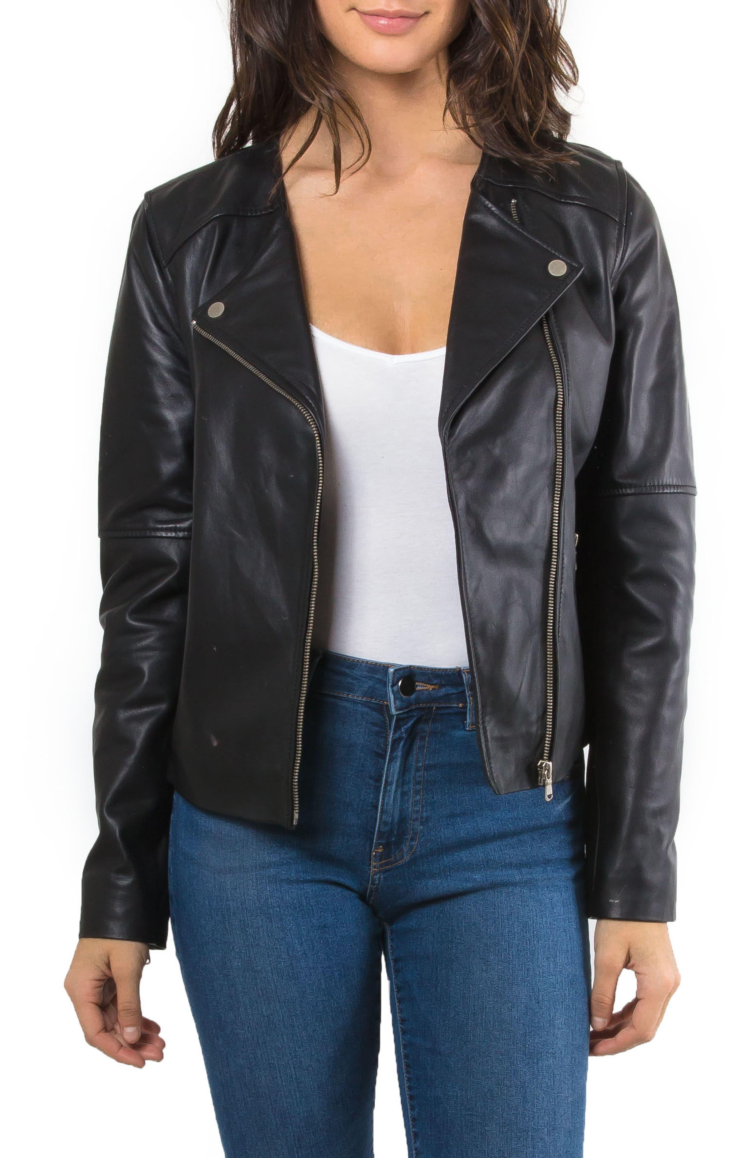 Leather Biker Jacket,                         Main,                         color,