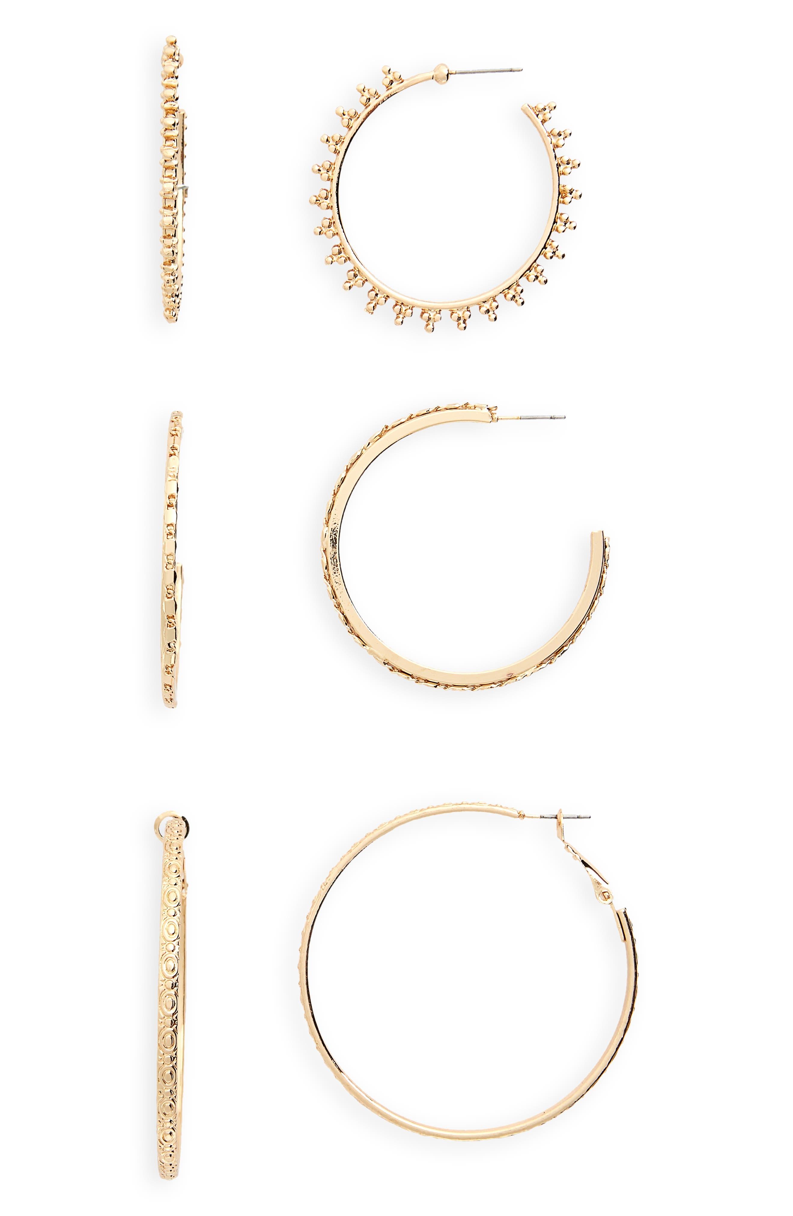 3-Pack Textured Hoop Earrings,                         Main,                         color,