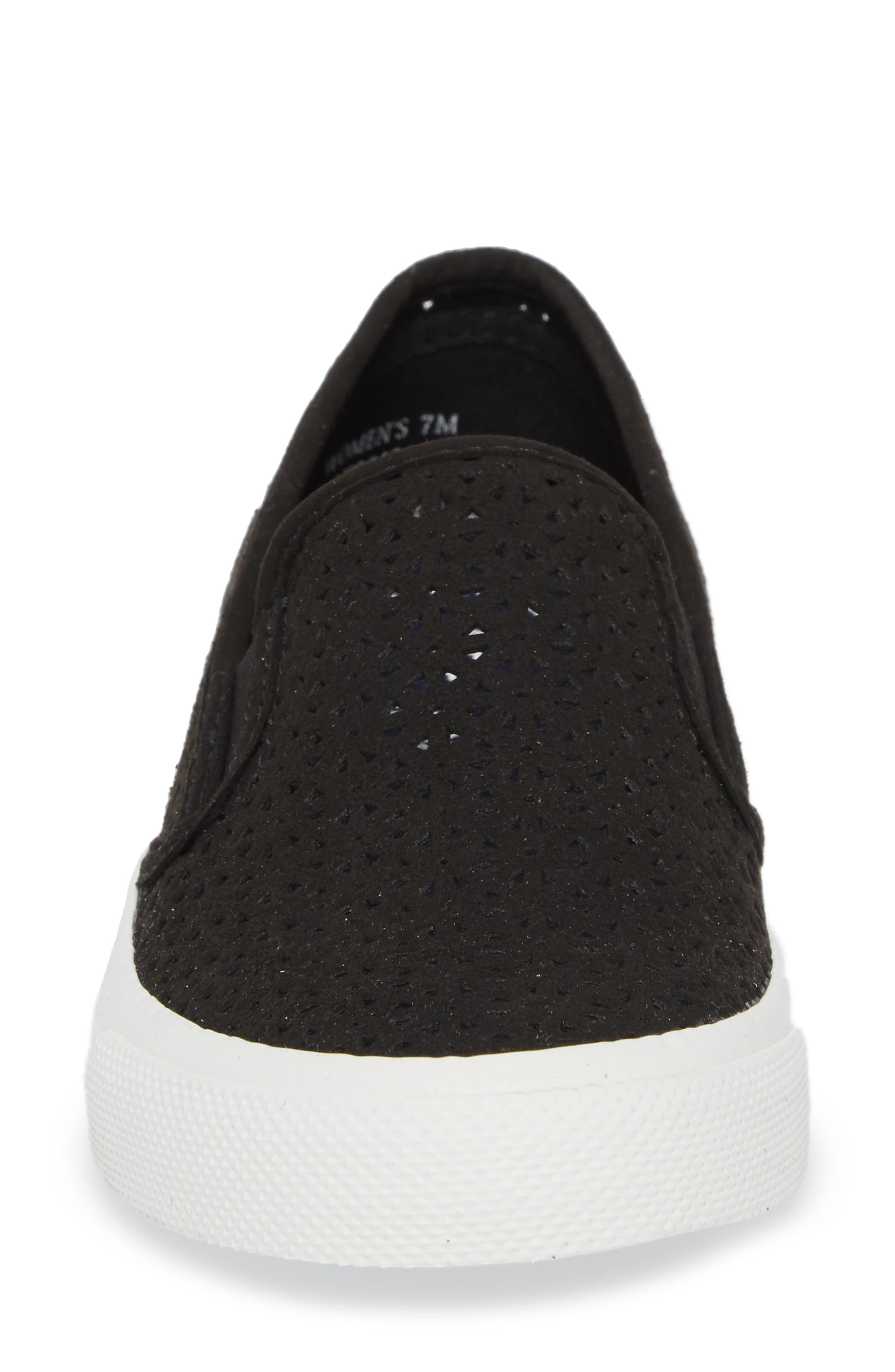Seaside Nautical Perforated Slip-On Sneaker,                             Alternate thumbnail 4, color,                             BLACK LEATHER