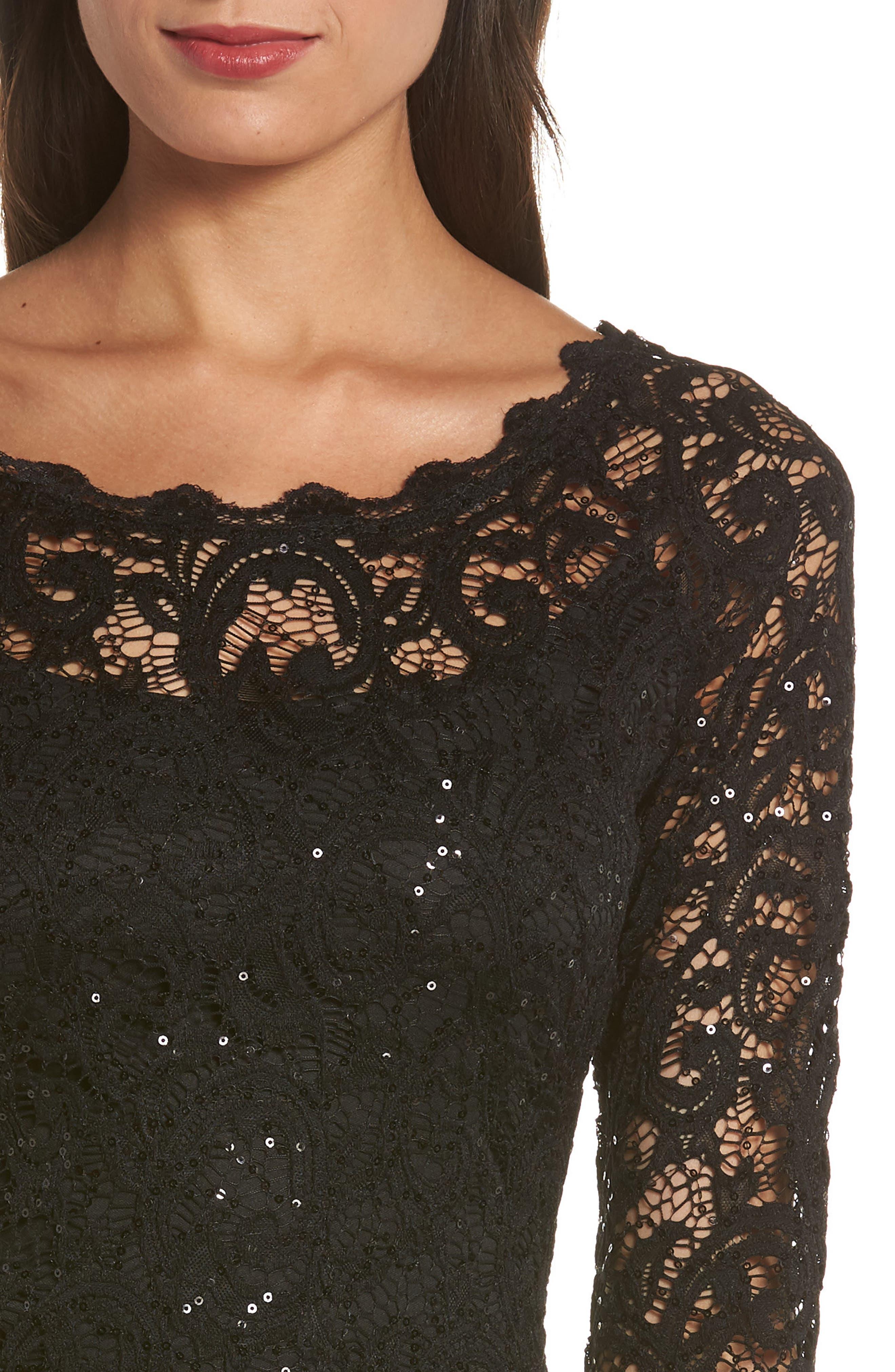Sequin Lace Sheath Dress,                             Alternate thumbnail 4, color,                             BLACK