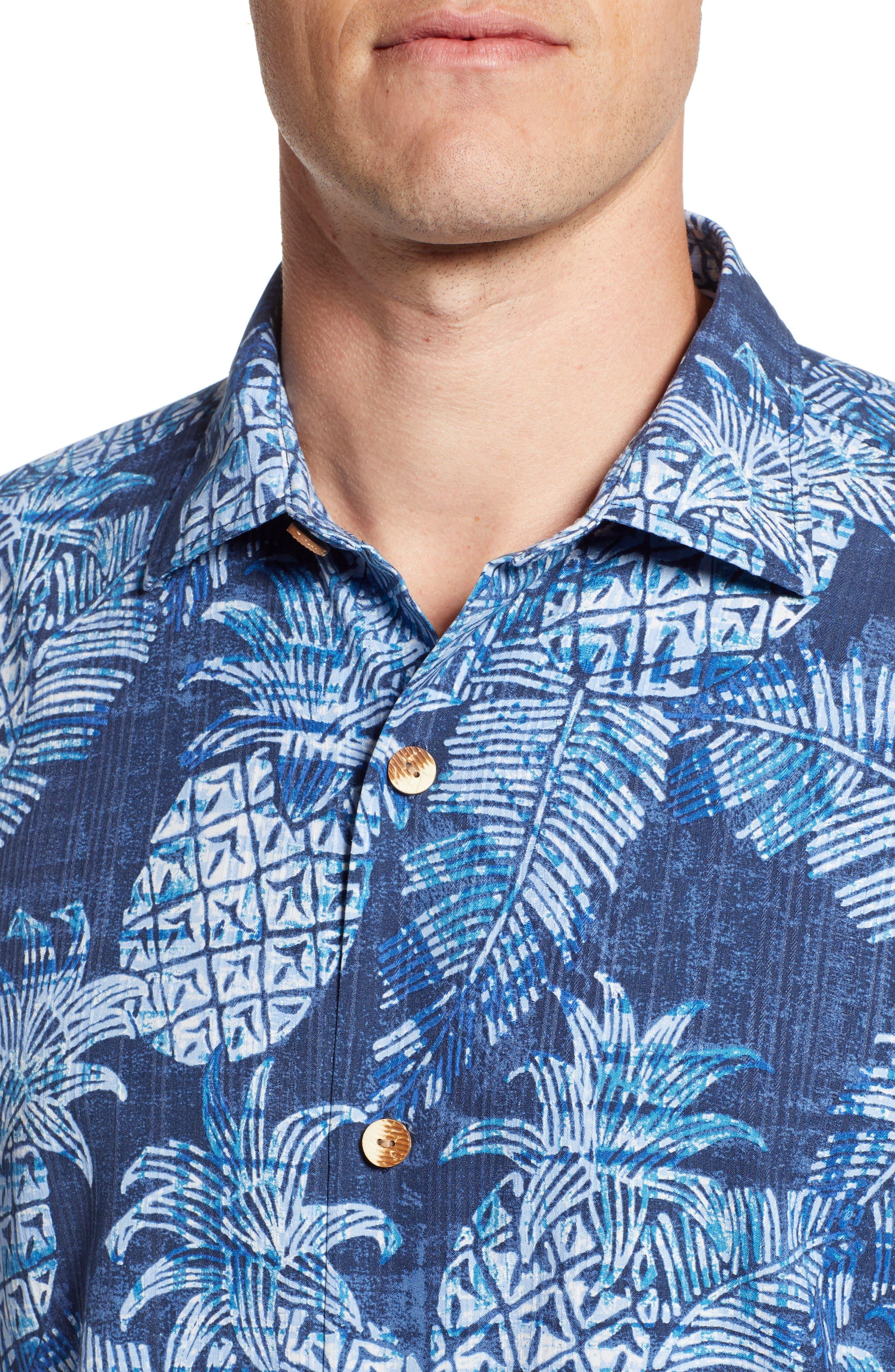 Coastal Colada Silk Blend Camp Shirt,                             Alternate thumbnail 4, color,                             ZEPHYR BLUE