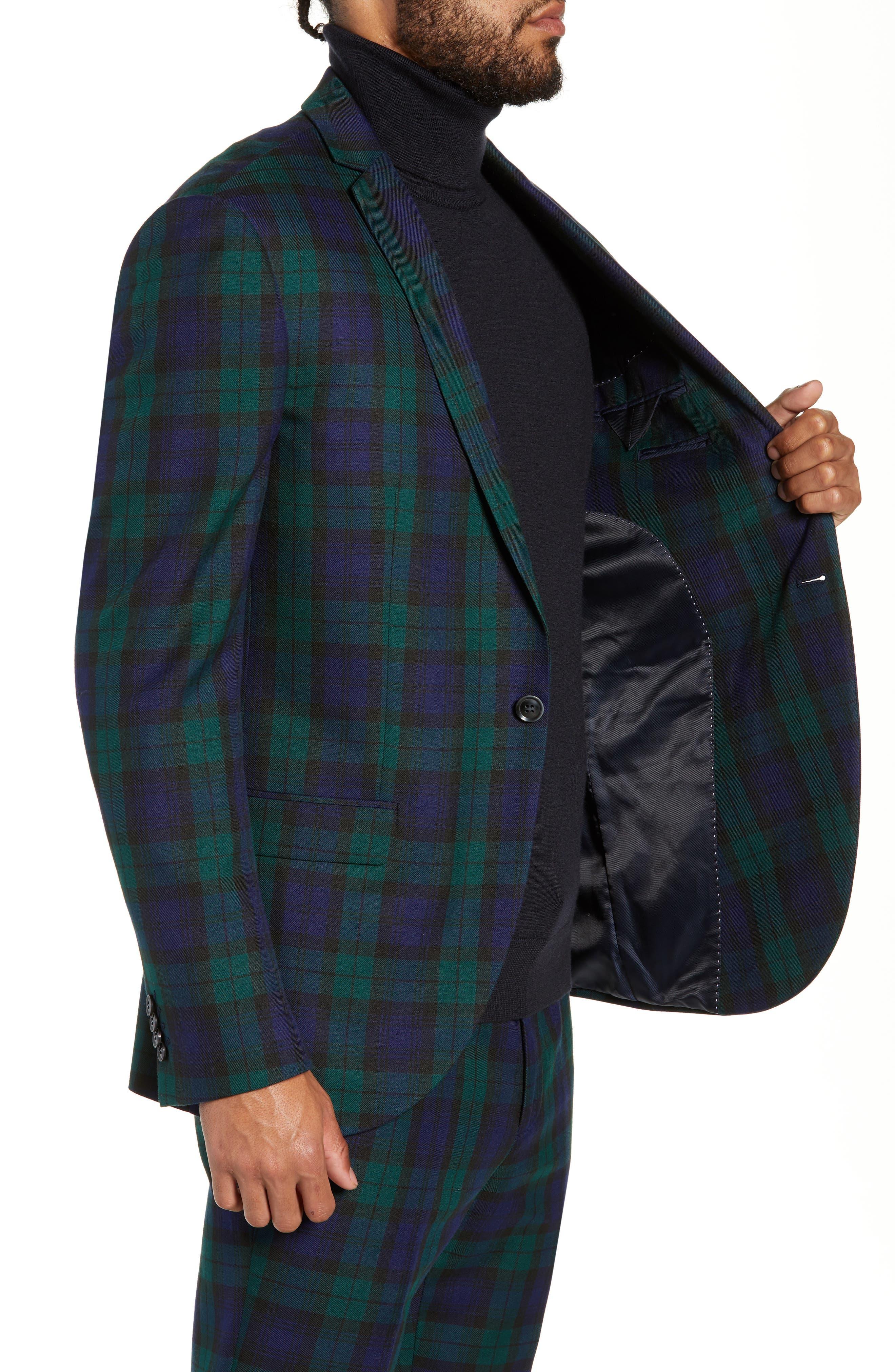 Plaid Slim Fit Suit Jacket,                             Alternate thumbnail 3, color,                             NAVY MULTI