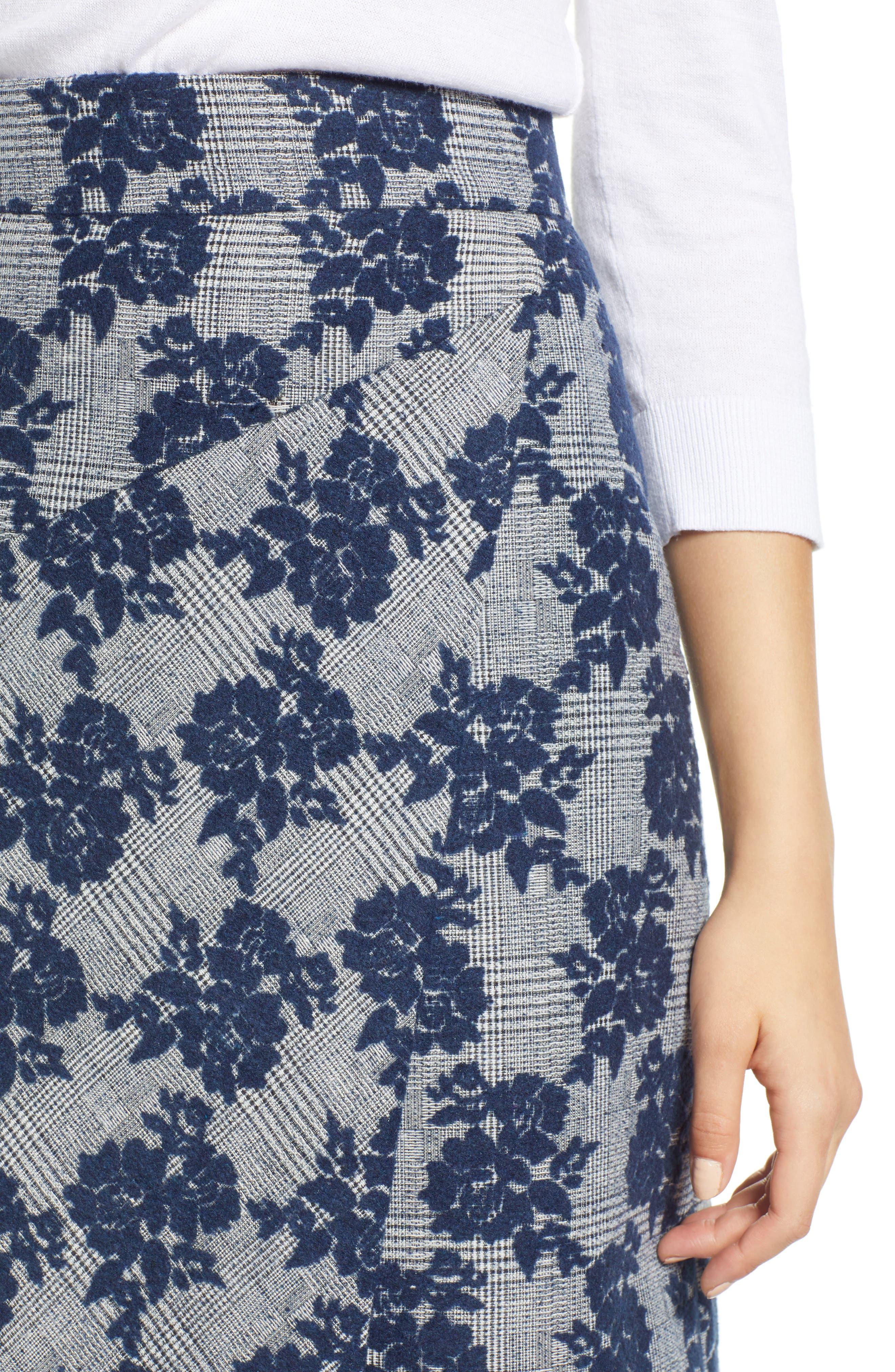 Floral Plaid Asymmetrical Skirt,                             Alternate thumbnail 4, color,                             BLUE PLAID FLORAL