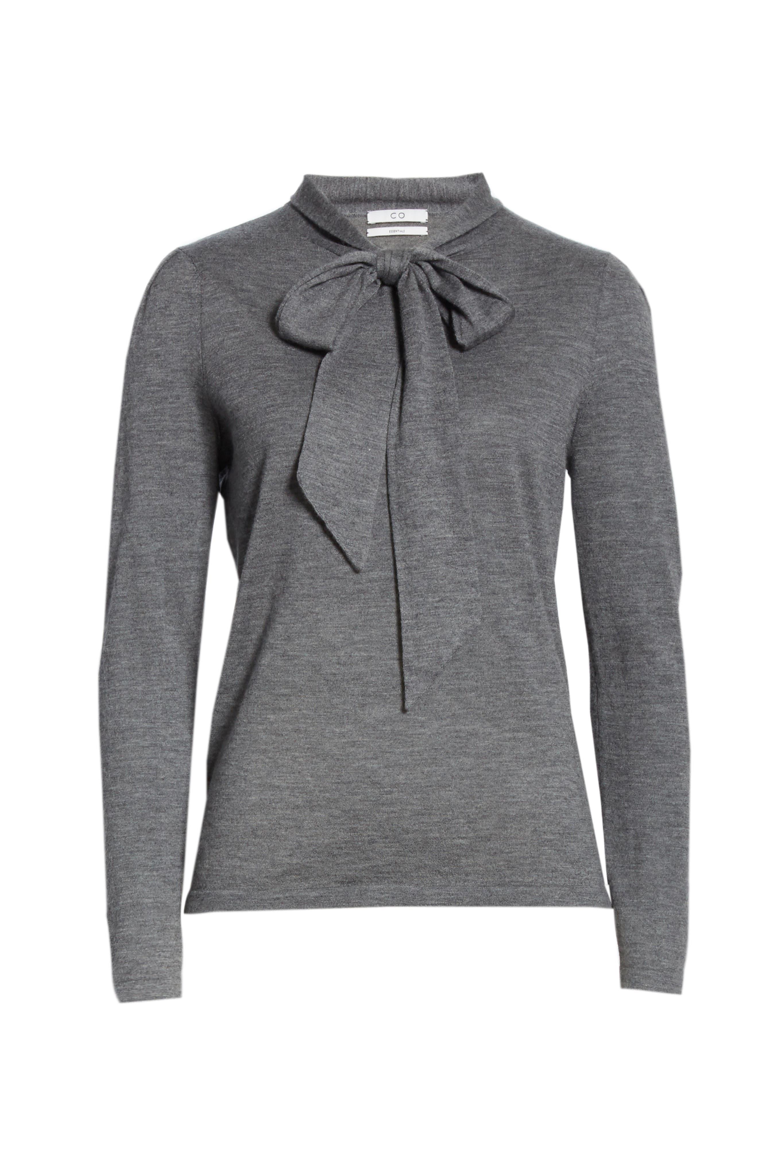 Essentials Tie Neck Cashmere Sweater,                             Alternate thumbnail 6, color,                             GREY