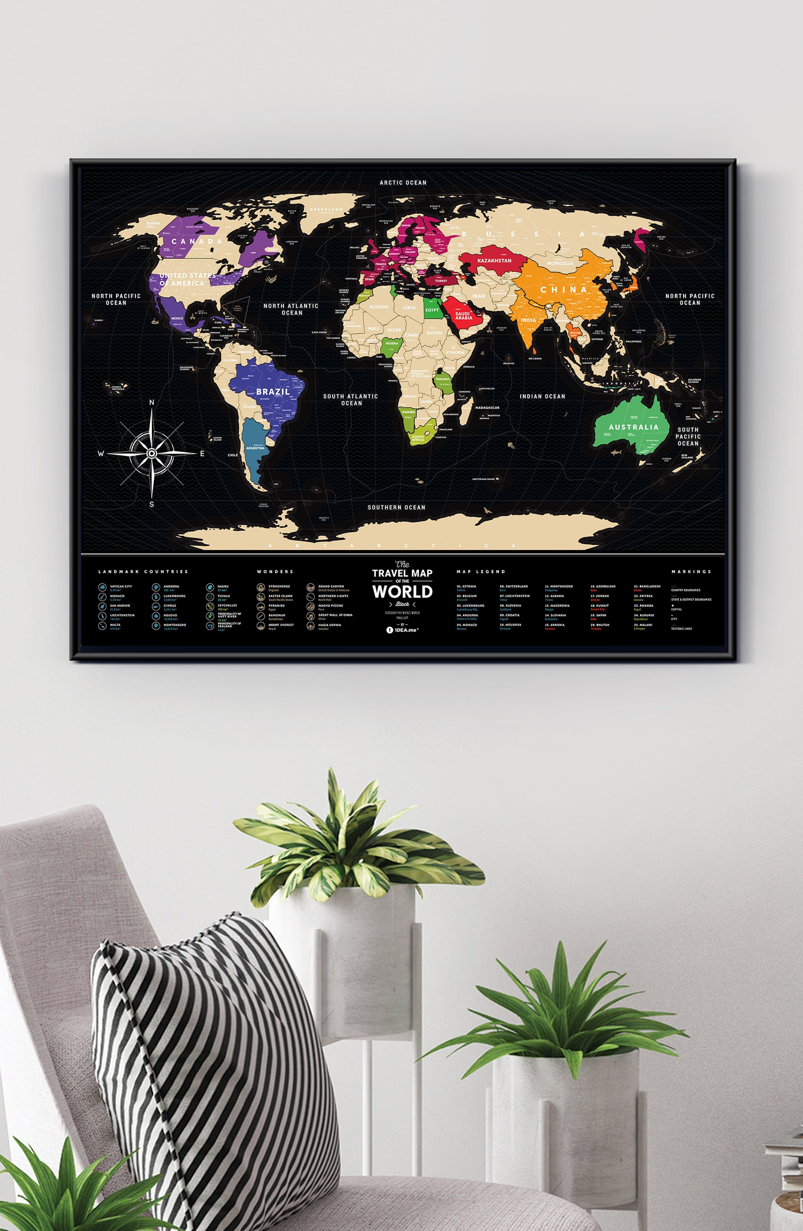 World Travel Map,                             Alternate thumbnail 9, color,                             BLACK