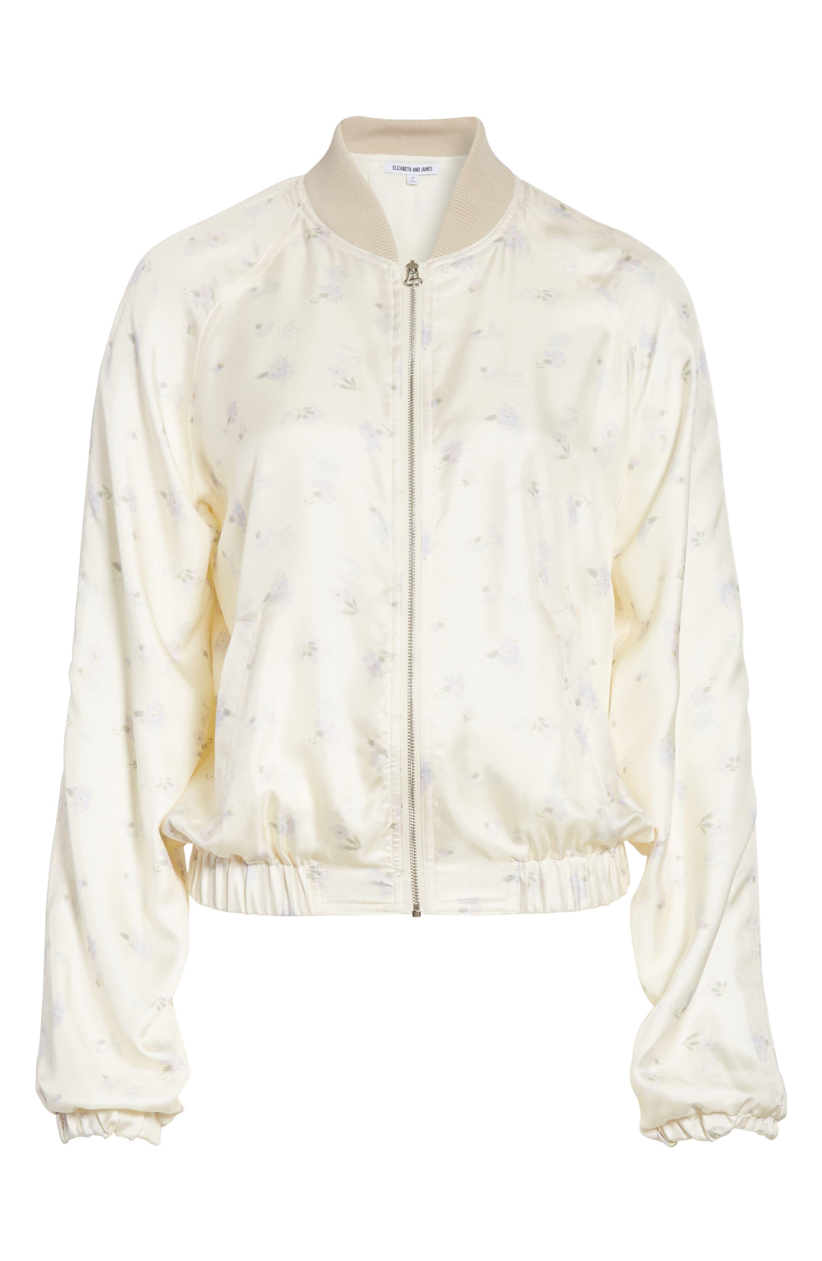 Jacque Floral Print Silk Bomber Jacket,                             Alternate thumbnail 5, color,                             903