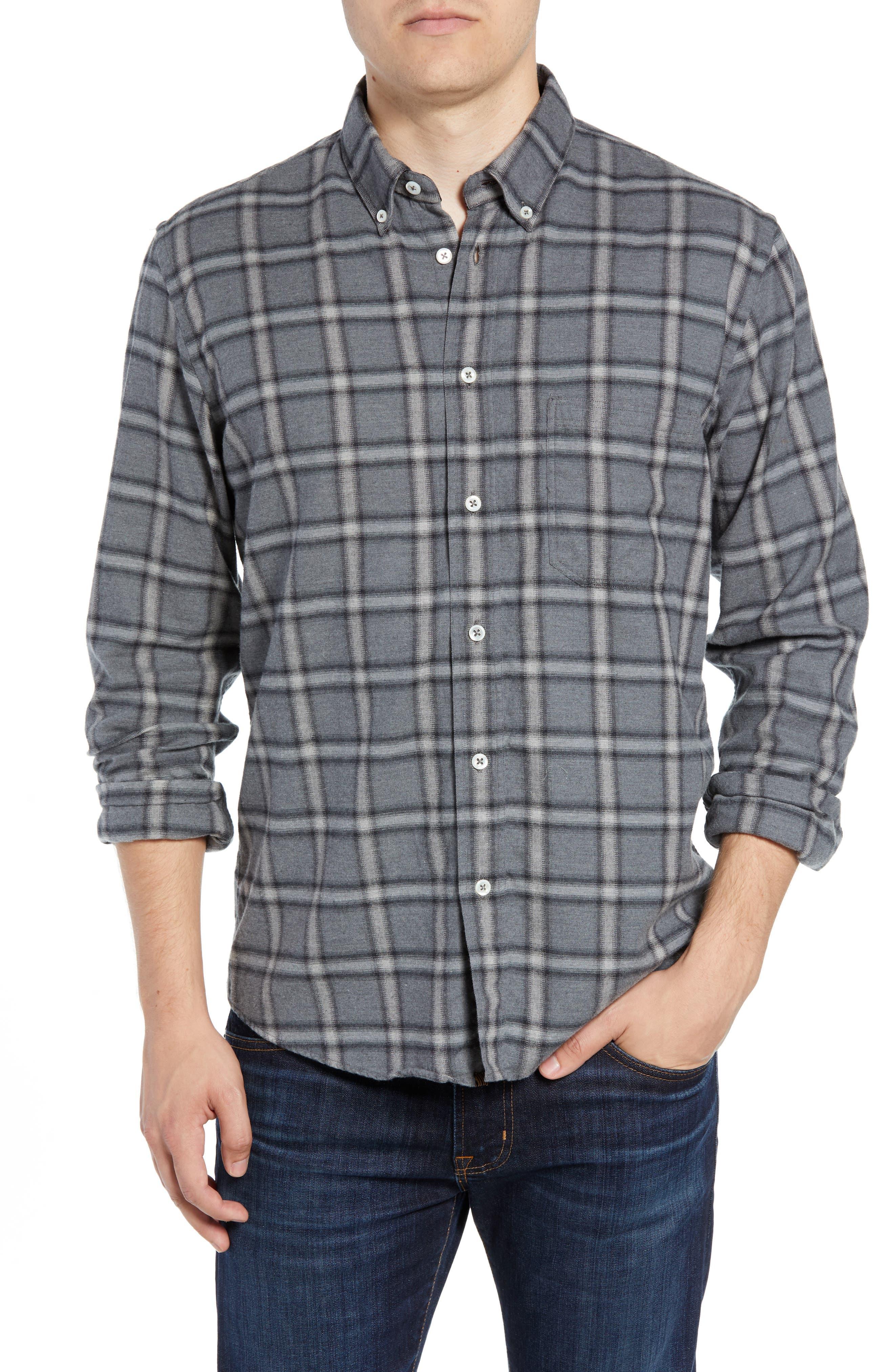 Tuscumbia Regular Fit Plaid Sport Shirt,                         Main,                         color, BLUE/ GREY